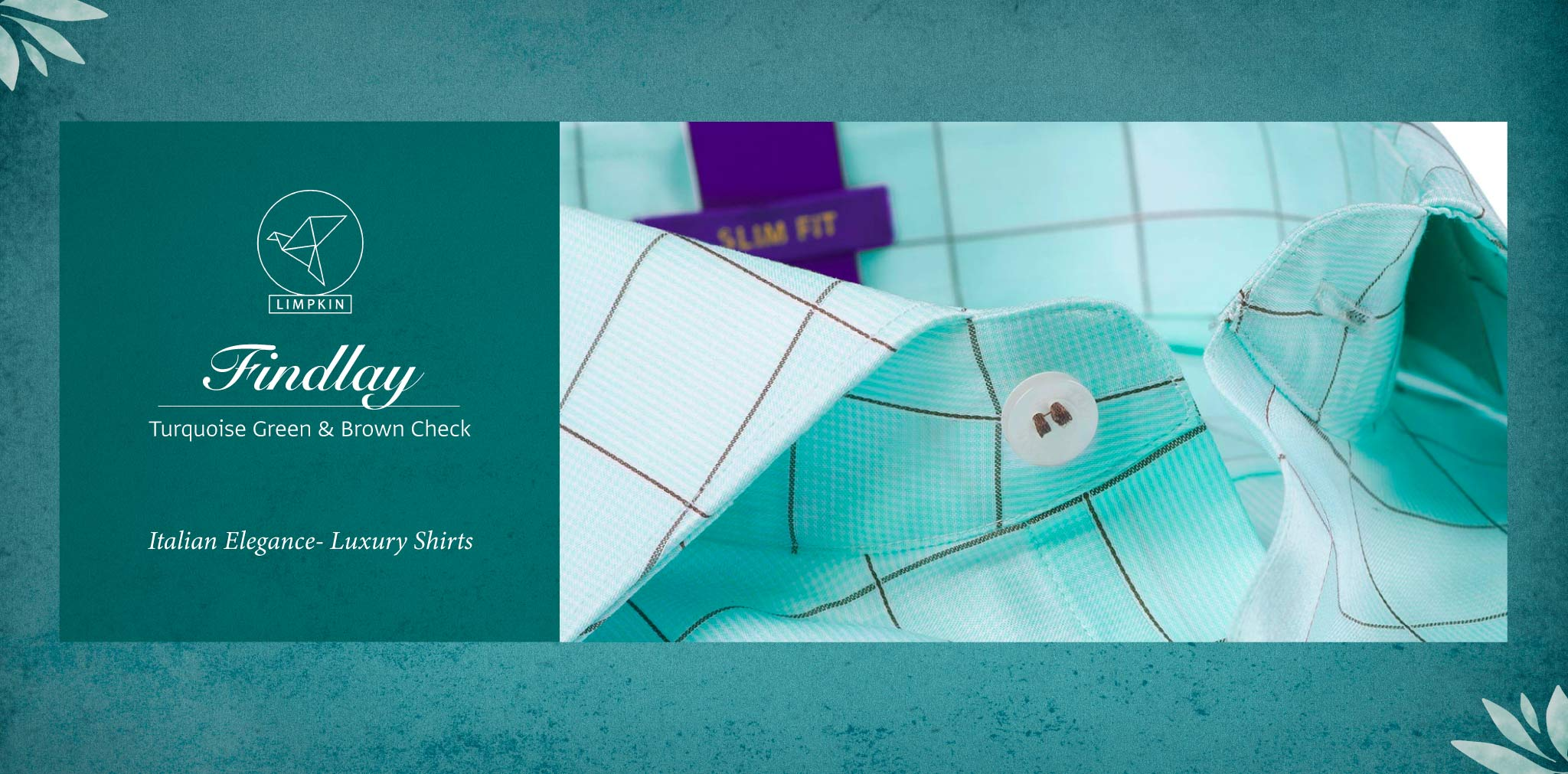 Findlay- Turquoise Green & Brown Check- 2 Ply Pure Egyptian Giza Cotton- Delivery from 15th June - Banner