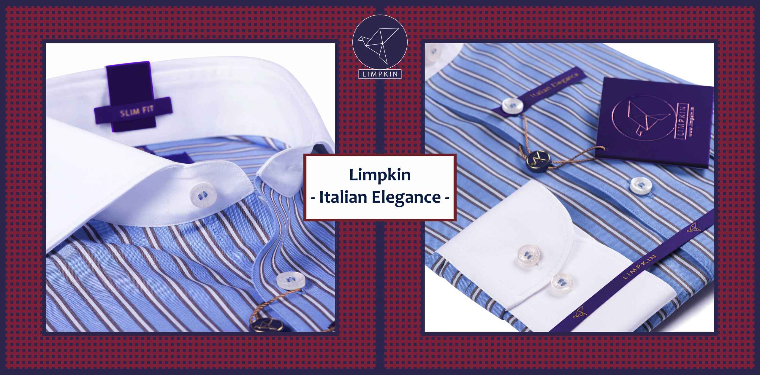Piccadilly- Oxford Blue Stripe with White Collar- 2/120 Egyptian Giza Cotton - Banner