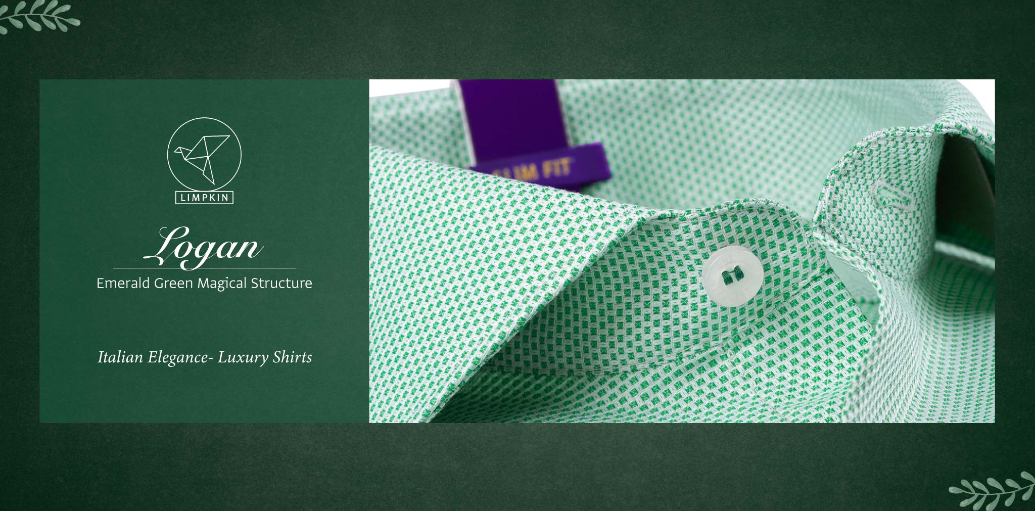 Logan- Emerald Green Magical Structure- 2 Ply Pure Egyptian Giza Cotton- Delivery from 15th May - Banner