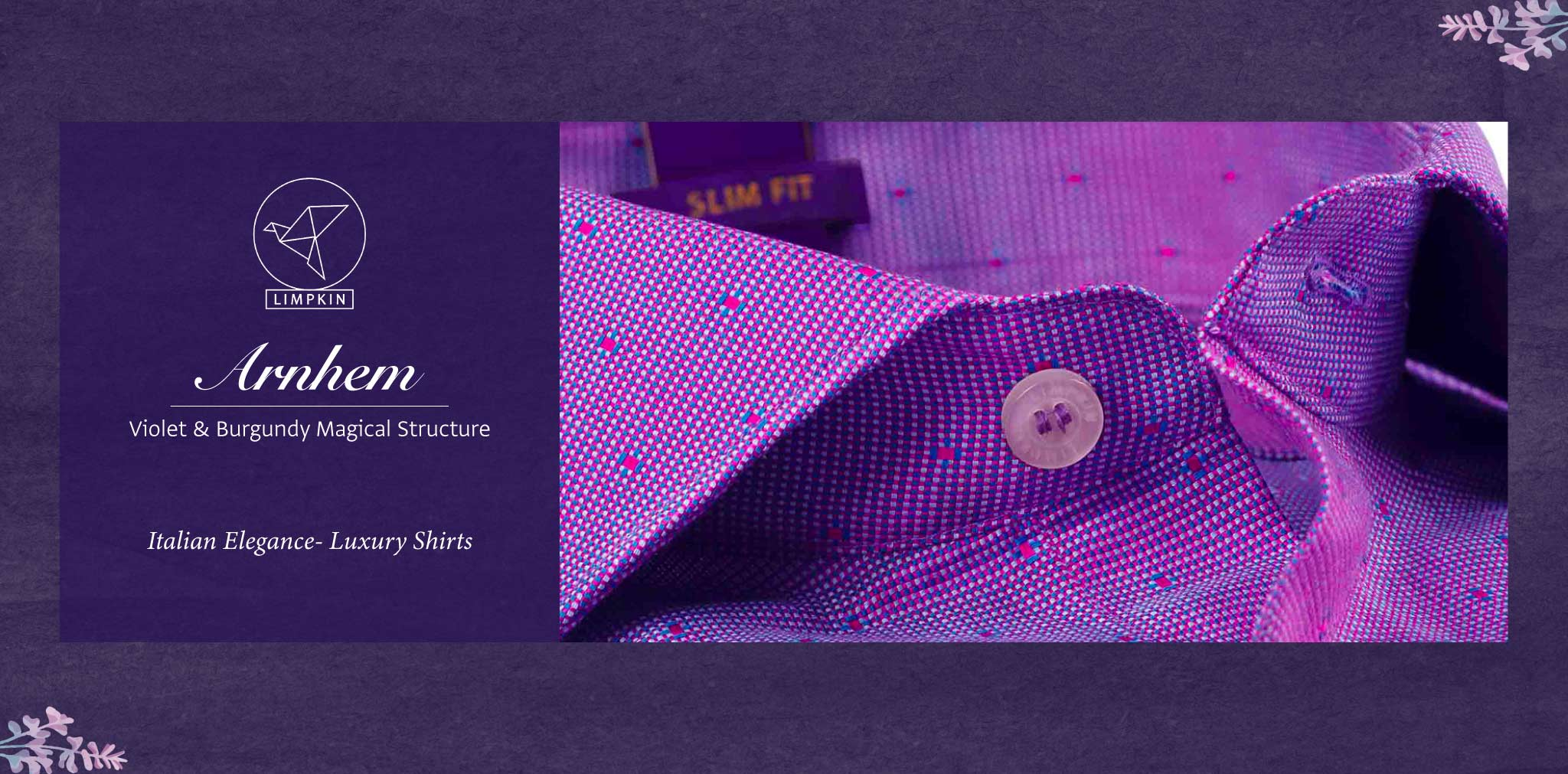 Arnhem- Violet & Burgundy Magical Structure- 2 Ply Pure Egyptian Giza Cotton- Delivery from 17th May - Banner