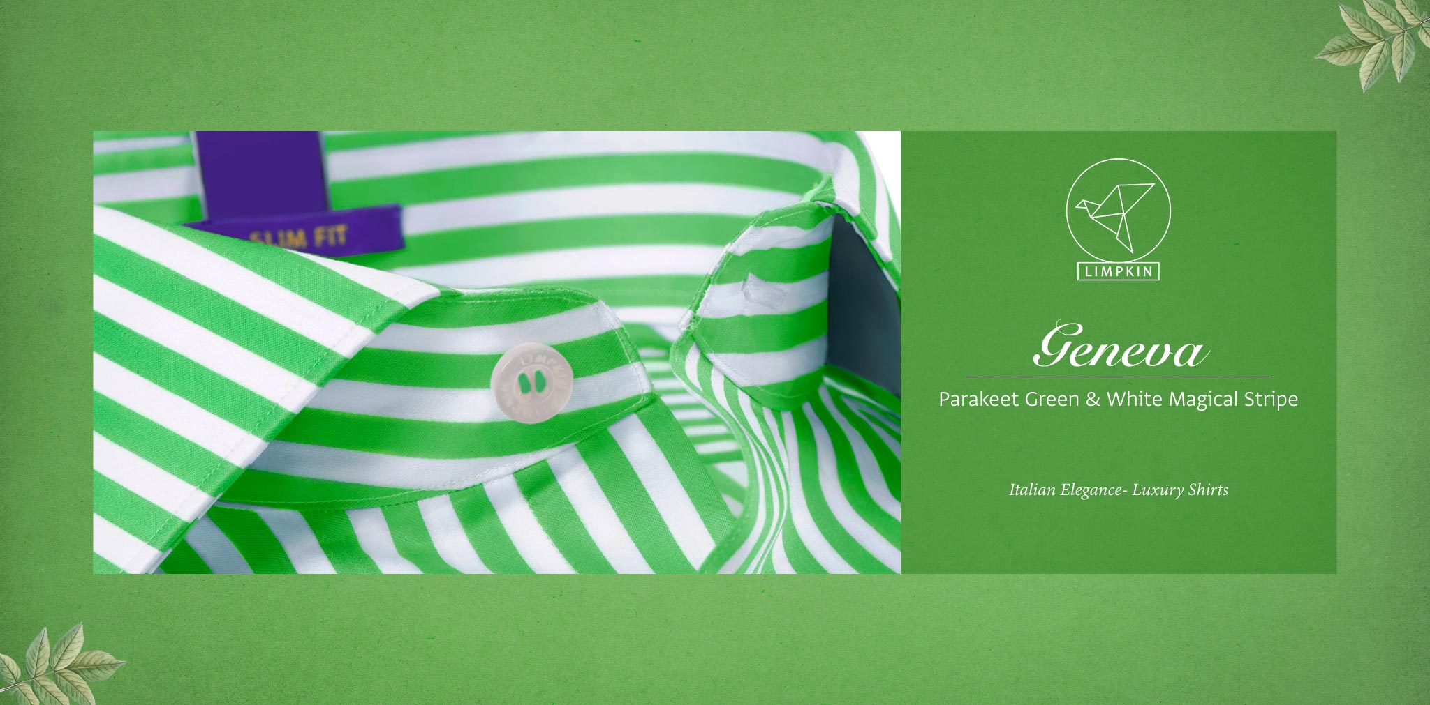 Geneva- Parakeet Green & White Stripe- 2 Ply Pure Egyptian Giza Cotton- Delivery from 26th Sept - Banner