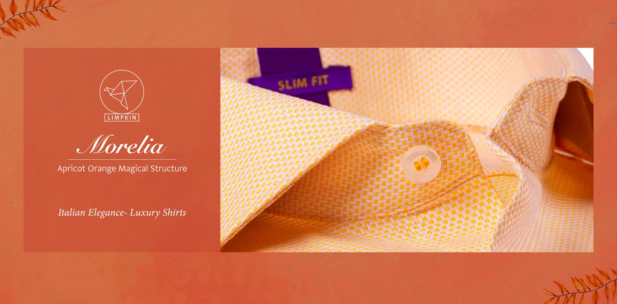 Morelia- Apricot Orange Magical Structure- 2 Ply Pure Egyptian Giza Cotton- Delivery from 15th May - Banner