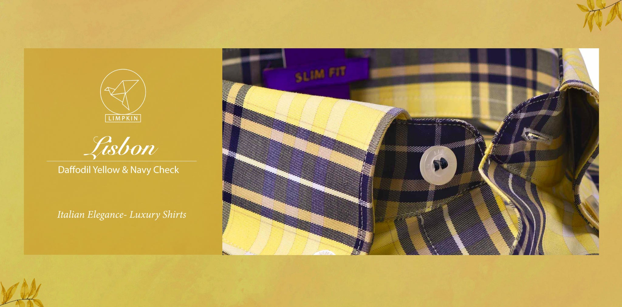 Lisbon- Daffodil Yellow & Navy Magical Check- Pure Egyptian Giza Cotton- Delivery from 26th Sept - Banner