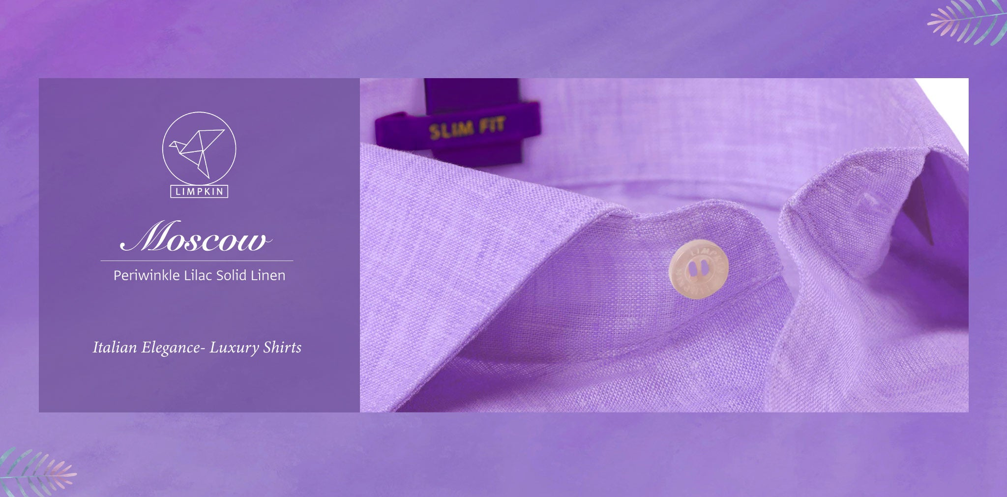 Moscow- Periwinkle Lilac Solid Linen- 66's Lea Pure Italian Linen- Delivery from 26th Sept - Banner