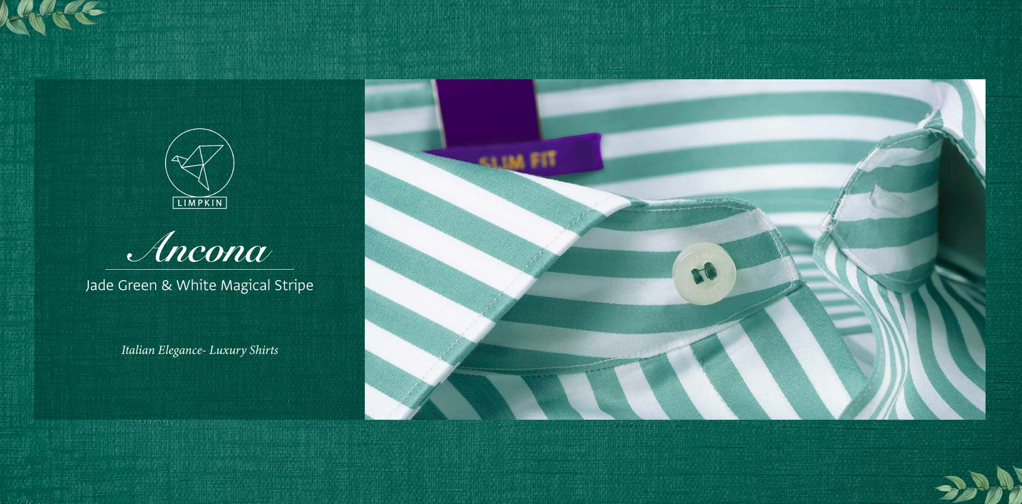 Ancona- Jade Green & White Magical Stripe- 2 Ply Pure Egyptian Giza Cotton- Delivery from 10th March - Banner