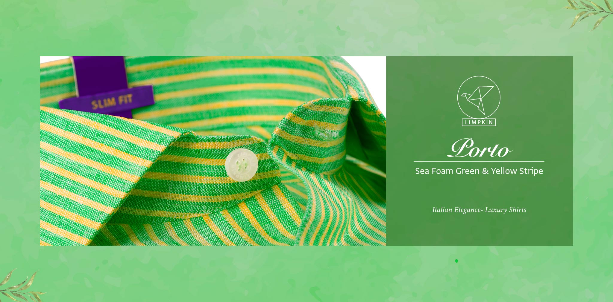 Porto- Sea Foam Green & Yellow Magical Stripe- 66's Lea Pure Luxury Linen- Delivery from 4th August - Banner