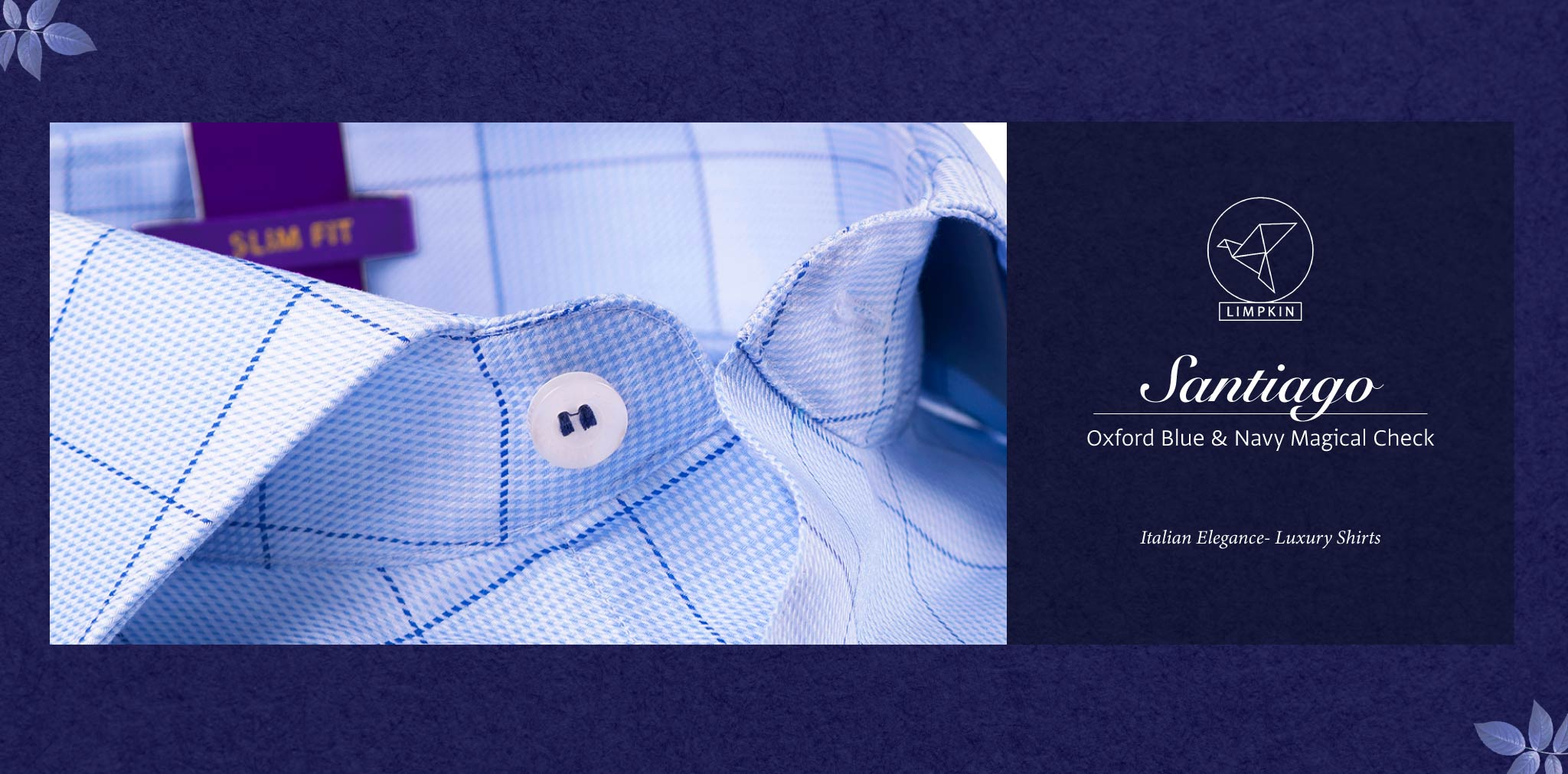 Santiago- Oxford Blue & Navy Magical Check- 2 Ply Pure Egyptian Giza Cotton- Delivery from 10th March - Banner