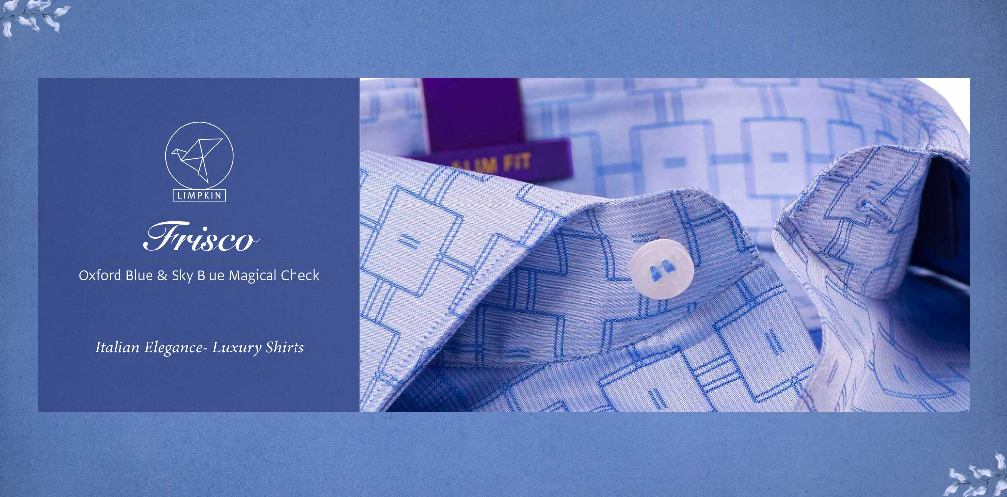Frisco- Oxford Blue & Sky Blue Magical Check- 2 Ply Pure Egyptian Giza Cotton- Delivery from 17th May - Banner