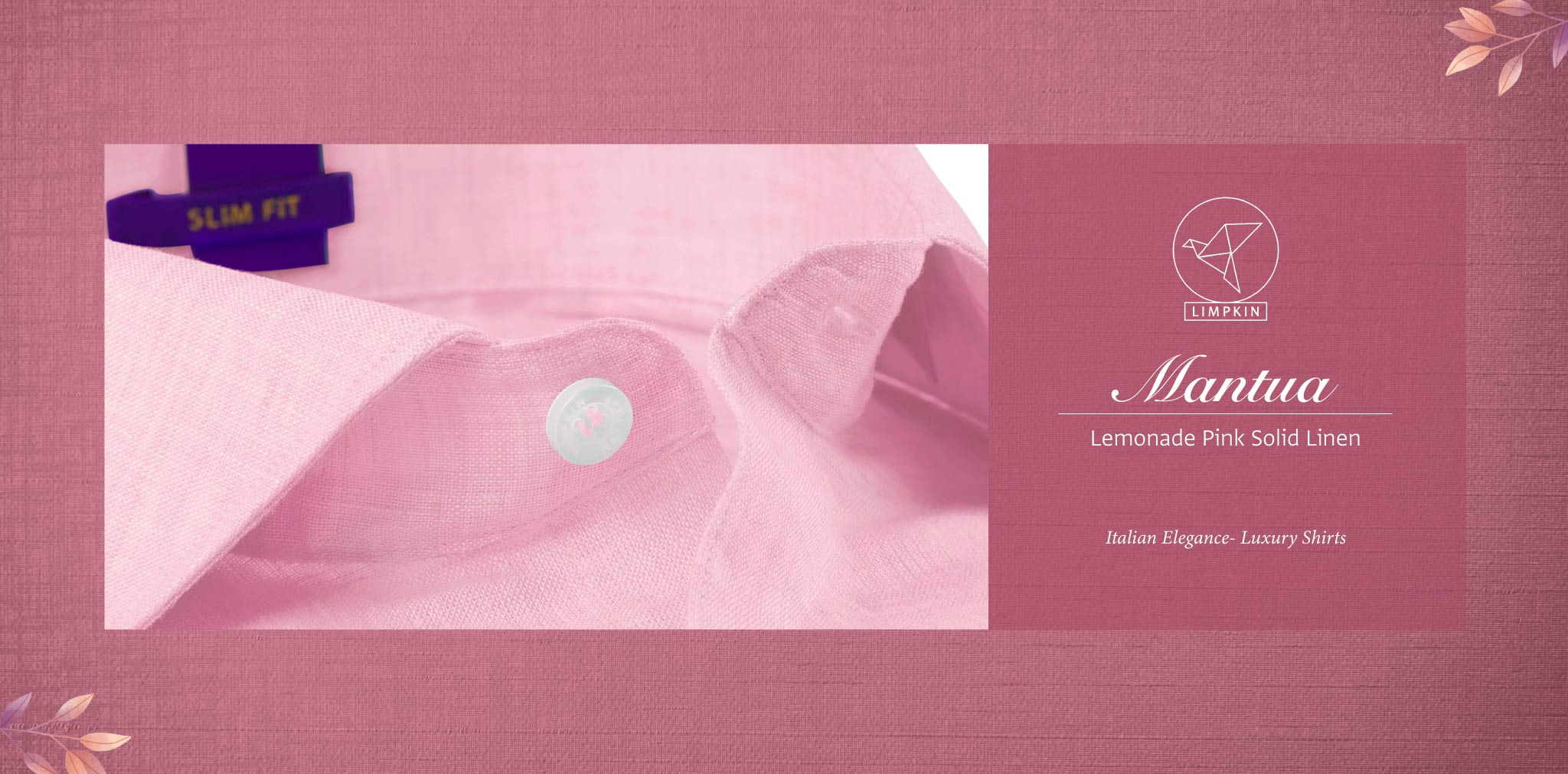 Mantua- Lemonade Pink Solid Linen- 66's Lea Pure Italian Linen- Delivery from 4th August - Banner