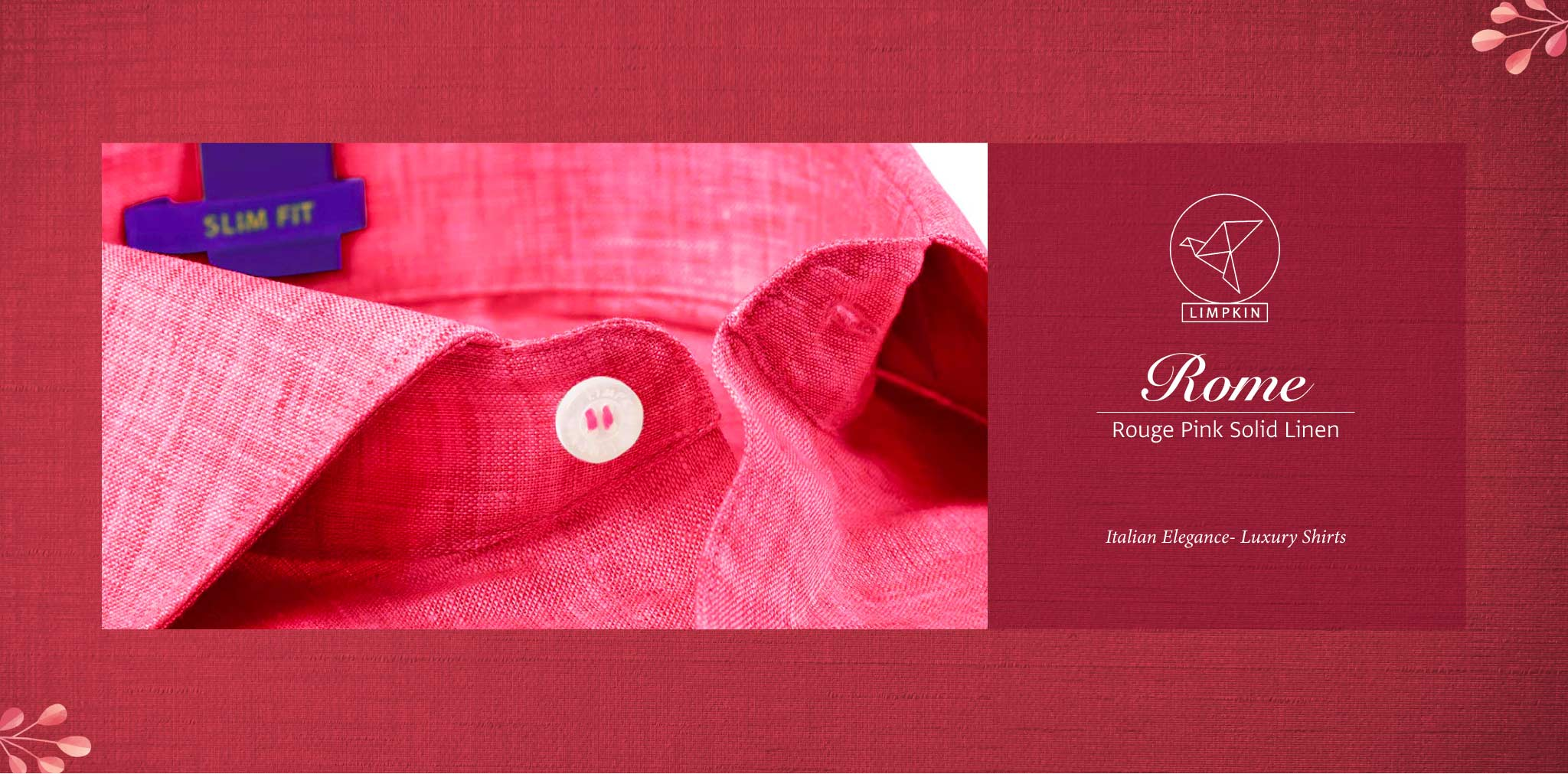 Rome- Rouge Pink Solid Linen- 66's Lea Pure Italian Linen- Delivery from 4th August - Banner