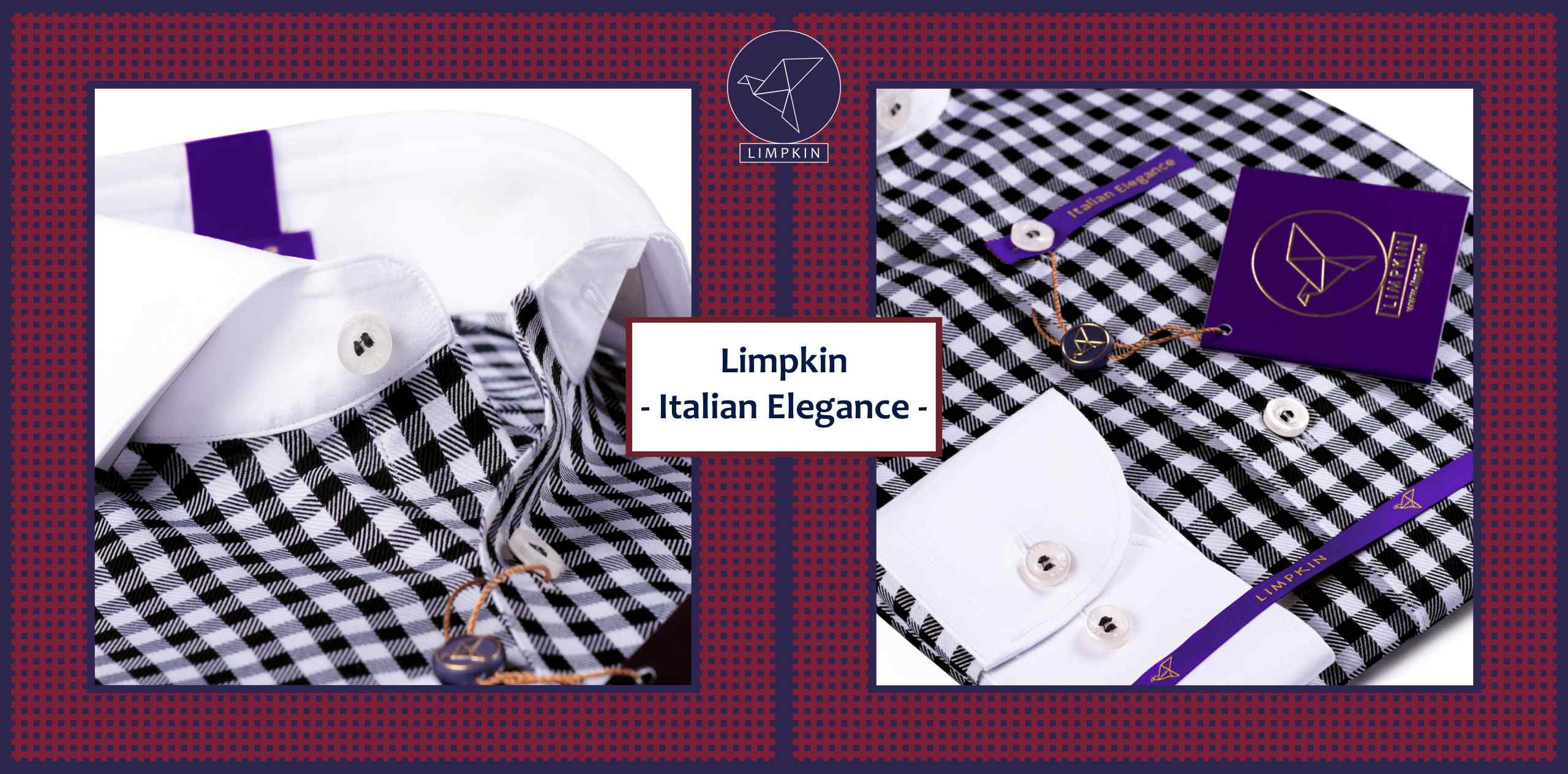 Vasco- Black & White Gingham Check- 2/140 Egyptian Giza Cotton- Delivery from 14th Oct - Banner