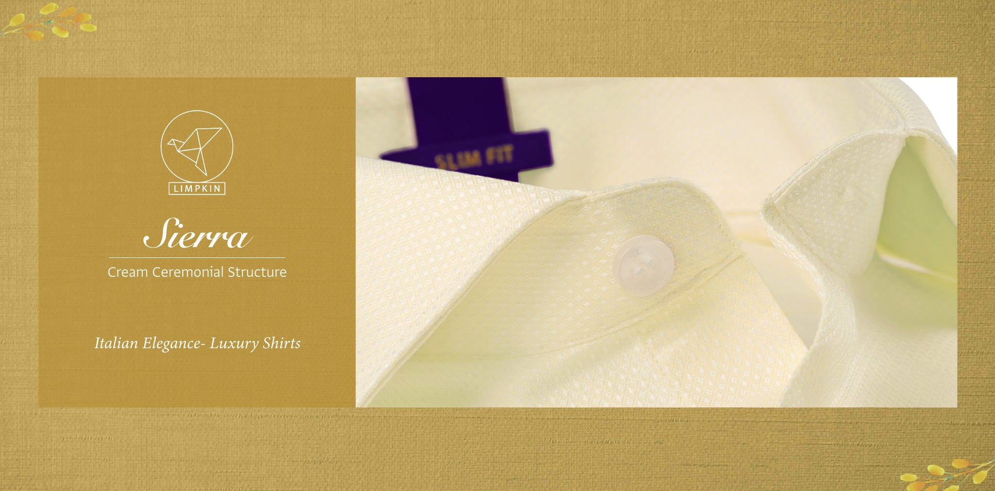 Sierra- Cream Ceremonial Structure- 2 Ply Pure Egyptian Giza Cotton- Delivery from 26th Sept - Banner