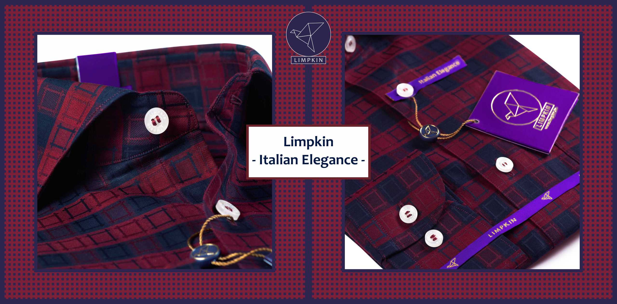 Louisville- Burgundy & Black Magical Check- 2/120 Egyptian Giza Cotton- Delivery from 22nd June - Banner
