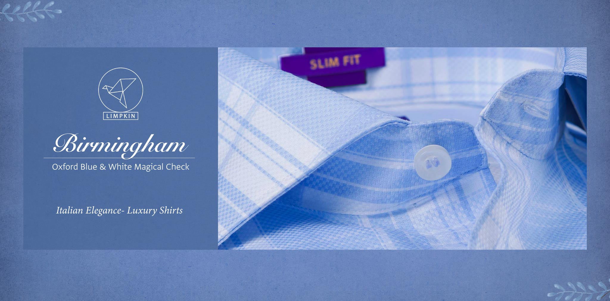 Birmingham- Oxford Blue & White Check- 2 Ply Pure Egyptian Giza Cotton- Delivery from 26th Sept - Banner