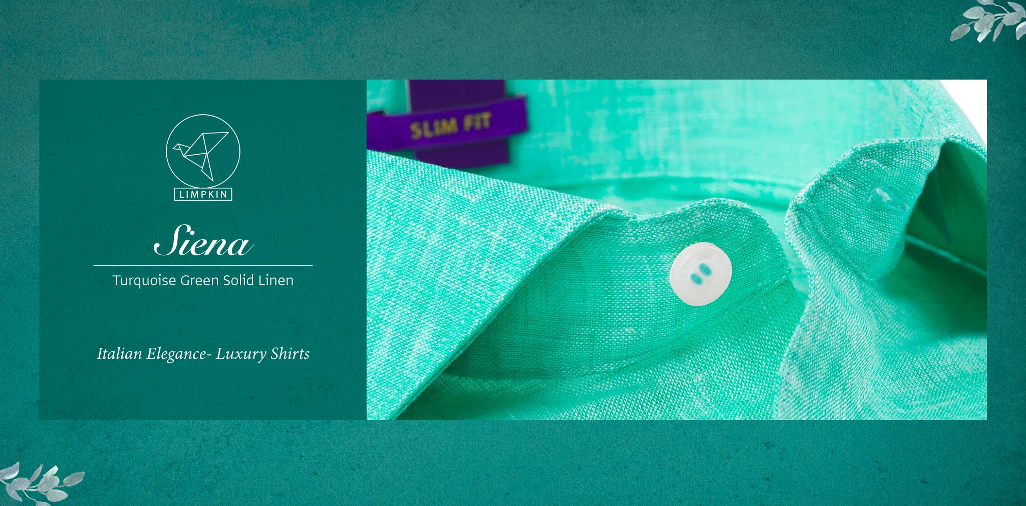 Siena- Turquoise Green Solid Linen- 66's Lea Pure Italian Linen- Delivery from 17th May - Banner
