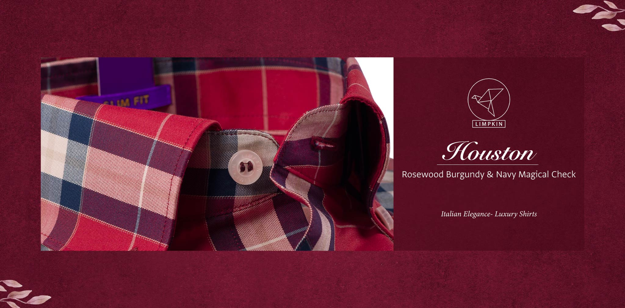 Houston- Rosewood Burgundy & Navy Magical Check- Pure Egyptian Giza Cotton- Delivery from 17th May - Banner