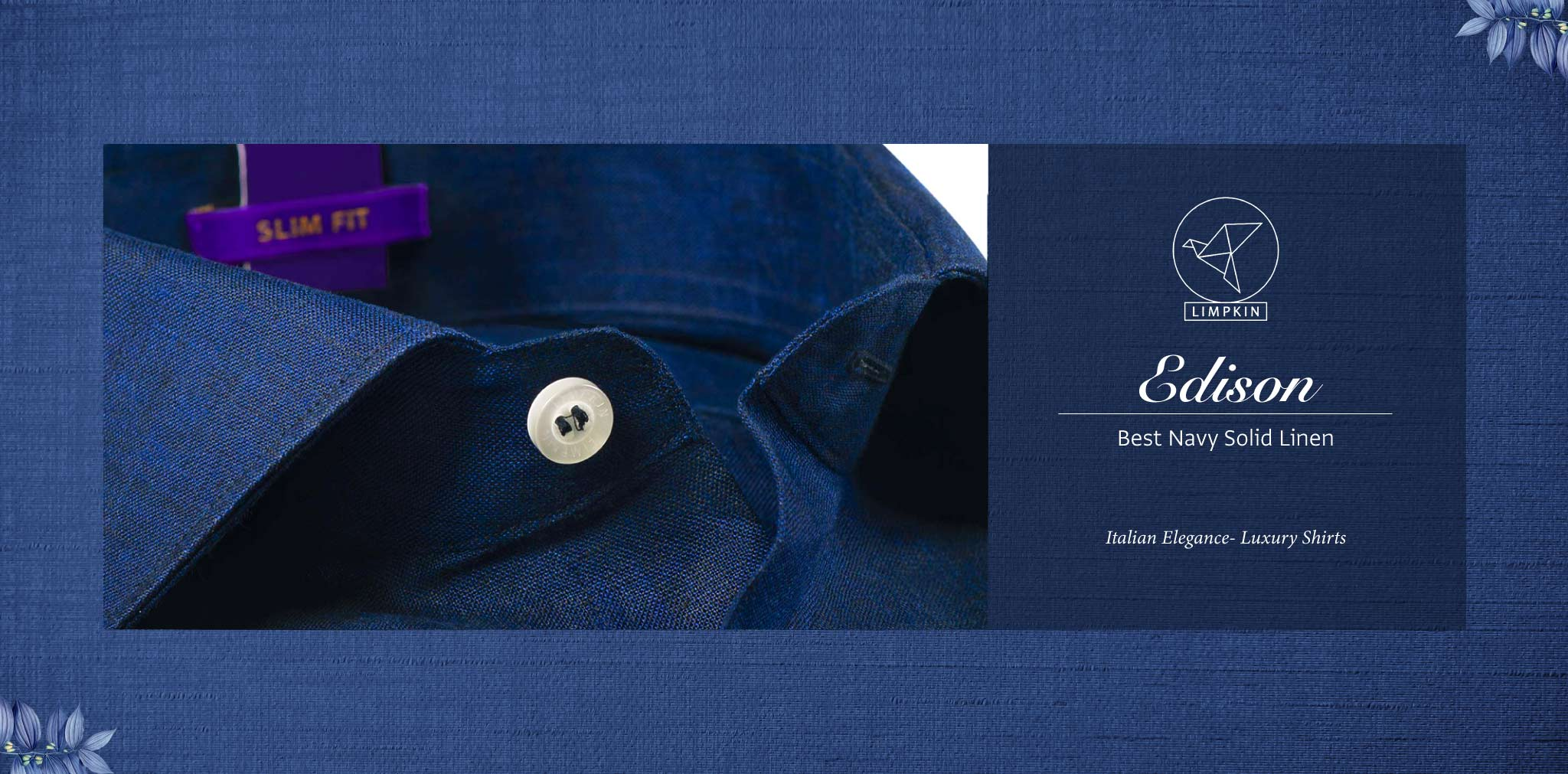 Edison- Best Navy Solid Linen- 66's Lea Pure Italian Linen- Delivery from 17th May - Banner