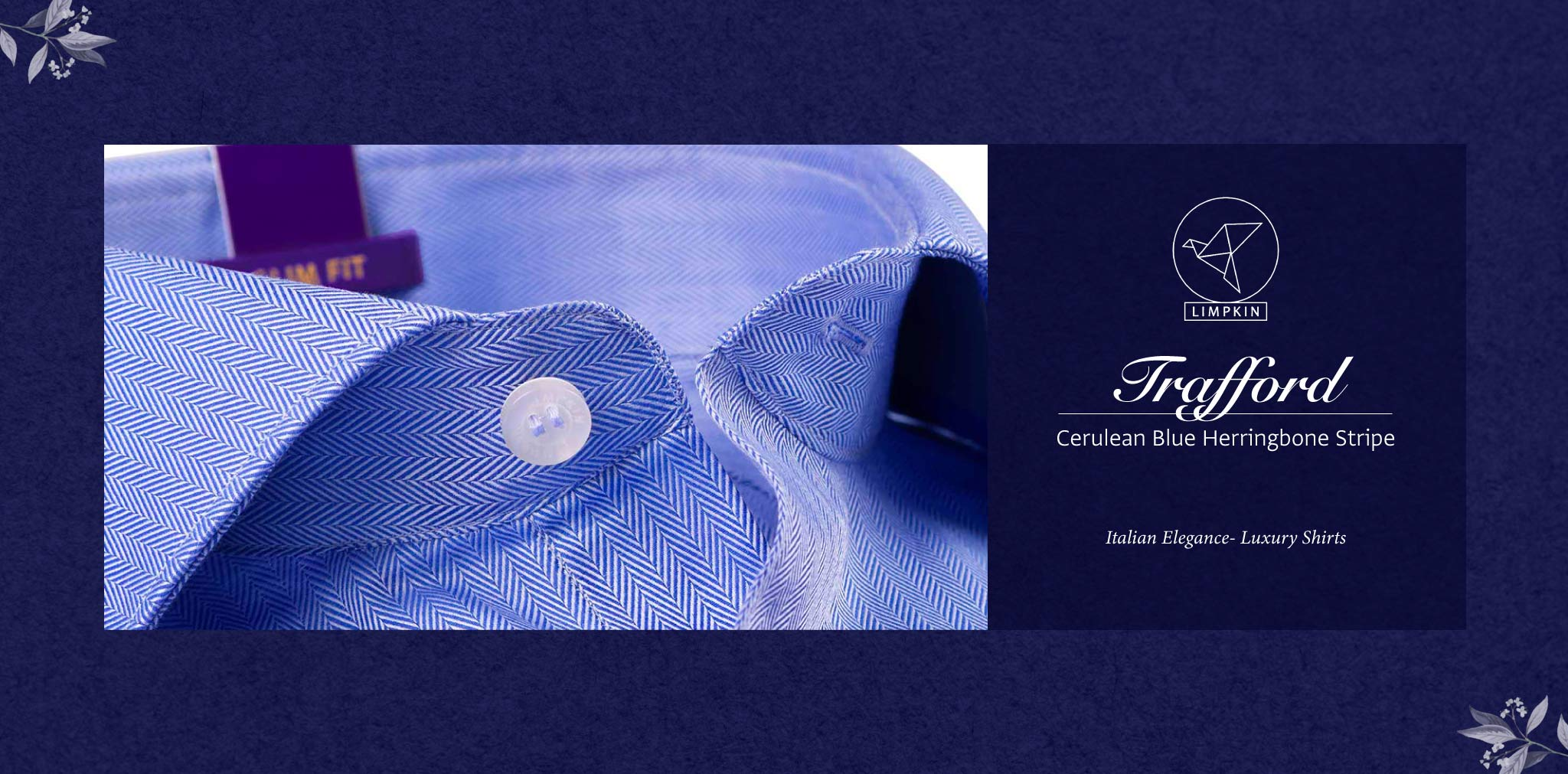 Trafford- Cerulean Blue Herringbone Stripe- 2 Ply Pure Egyptian Giza Cotton- Delivery from 20th April - Banner