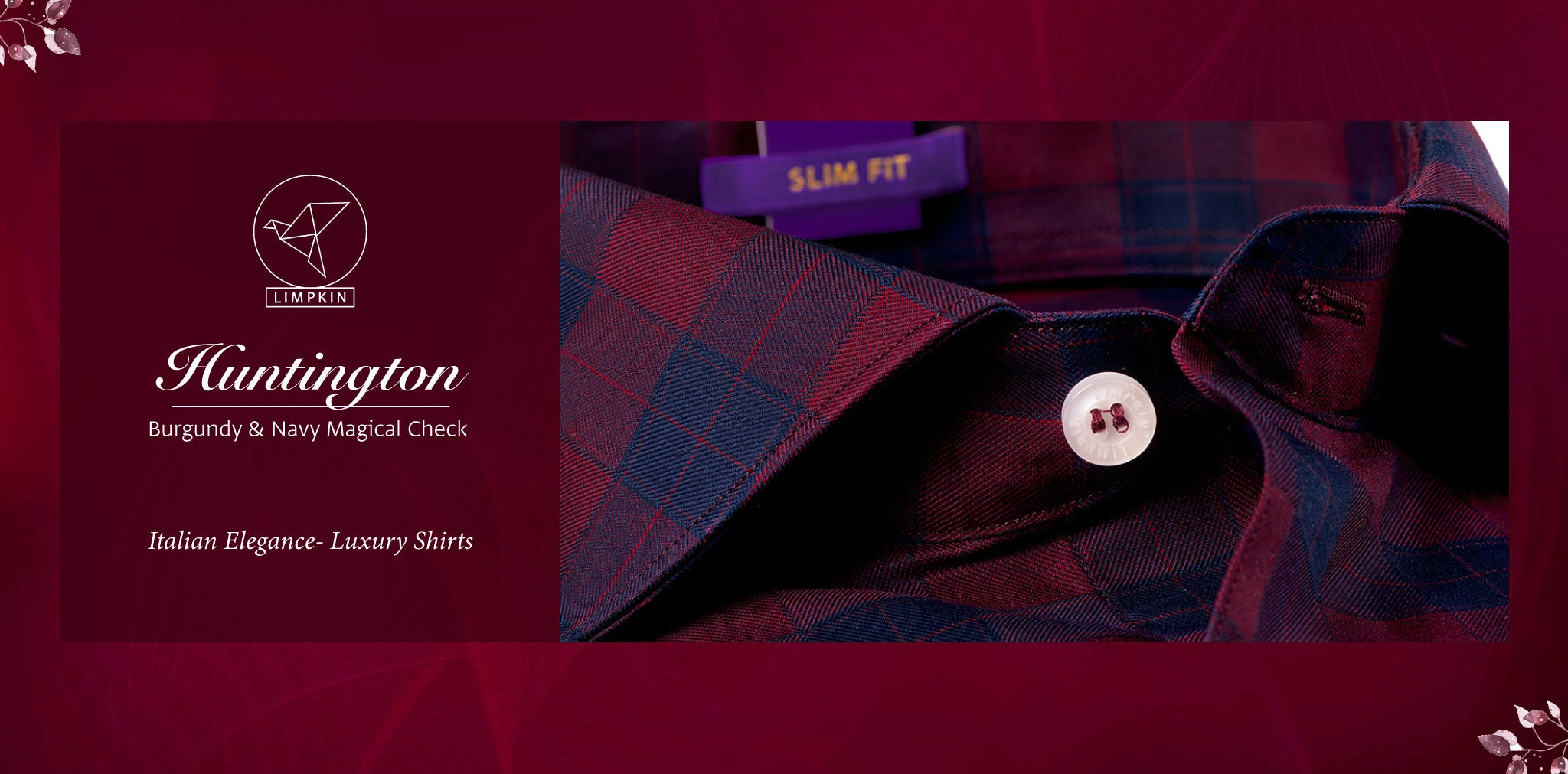 Huntington- Burgundy & Navy Magical Check- 2 Ply Pure Egyptian Giza Cotton- Delivery from 19th April - Banner
