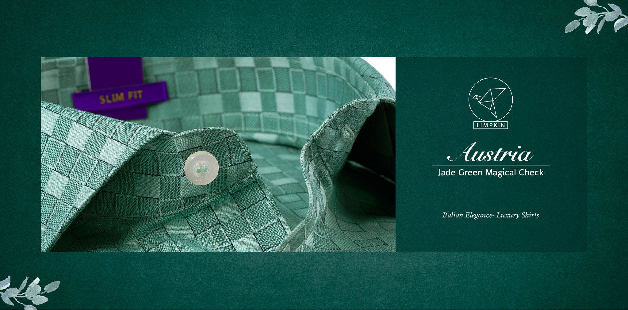 Austria- Jade Green Magical Check- 2 Ply Pure Egyptian Giza Cotton- Delivery from 20th Oct - Banner