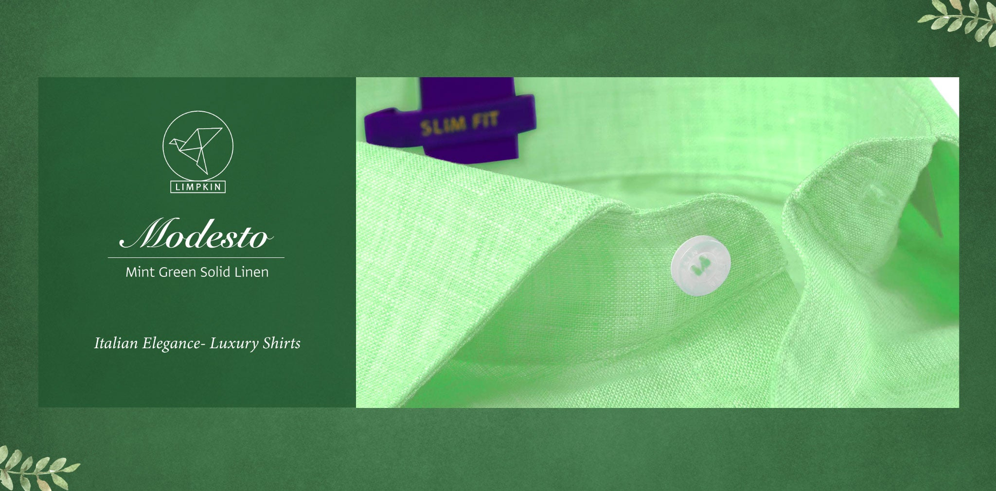 Modesto- Mint Green Solid Linen- 66's Lea Pure Italian Linen- Delivery from 20th Oct - Banner