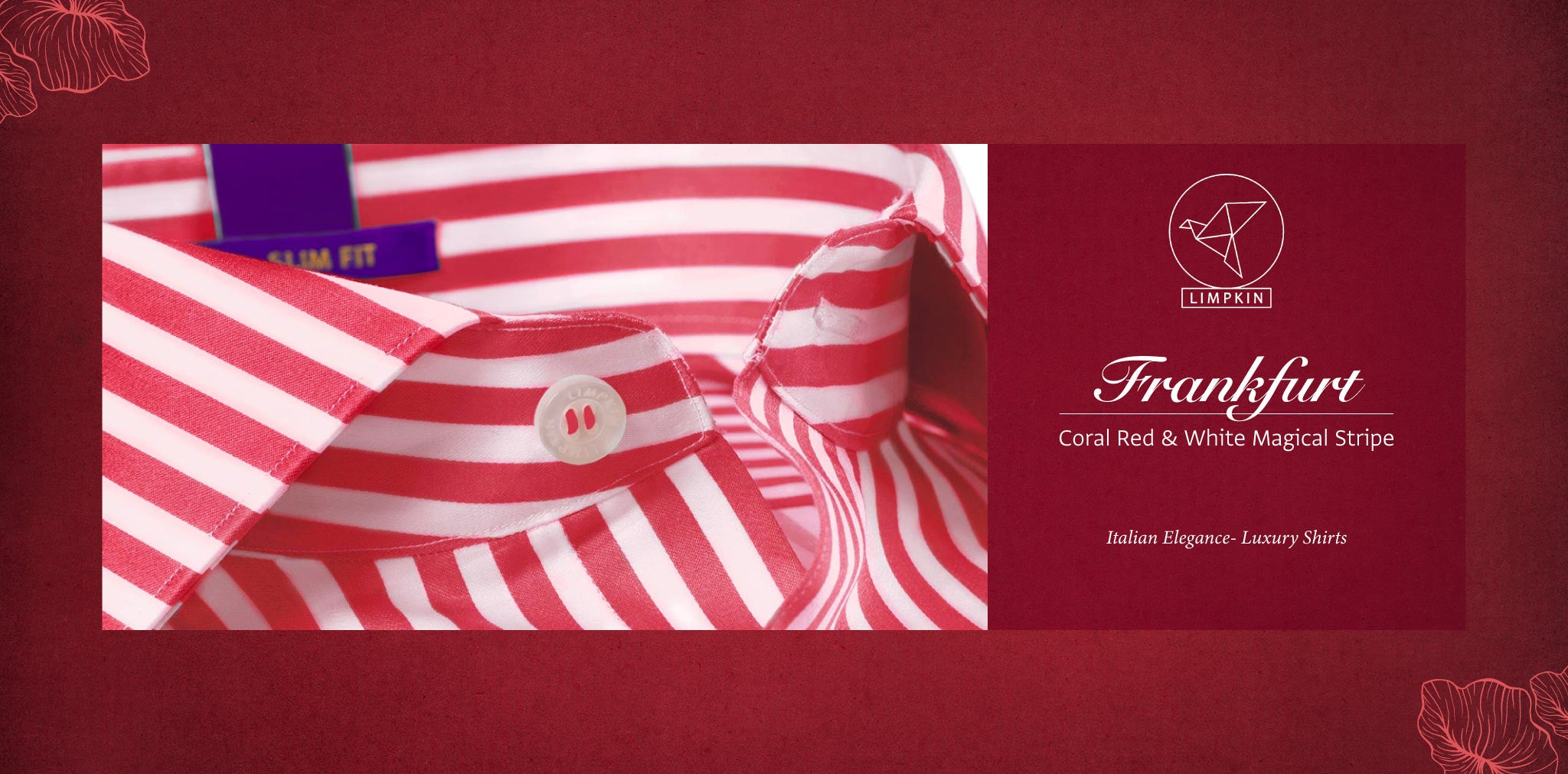 Frankfurt- Coral Red & White Magical Stripe- 2 Ply Pure Egyptian Giza Cotton- Delivery from 26th Sept - Banner