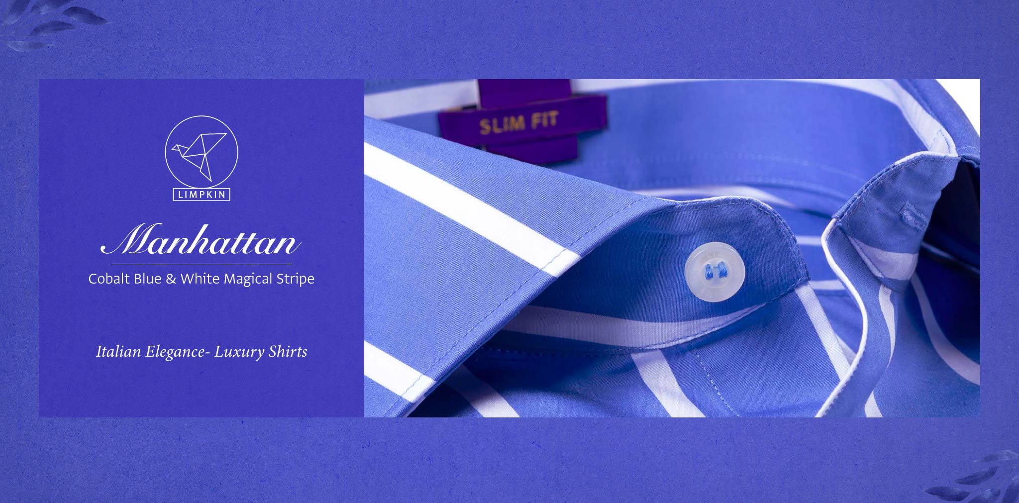 Manhattan- Cobalt Blue & White Stripe- 2 Ply Pure Egyptian Giza Cotton- Delivery from 15th May - Banner