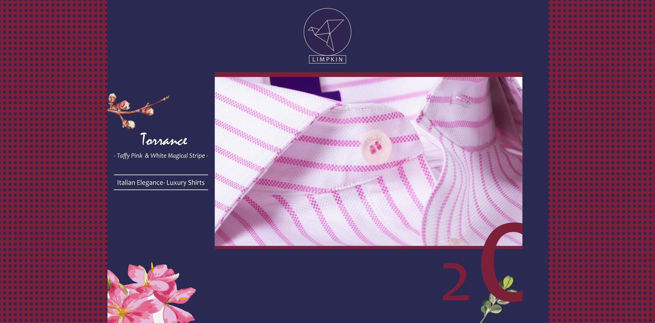 Torrance- Taffy Pink & White Magical Stripe- 2/120 Egyptian Giza Cotton- Delivery from 16th July - Banner