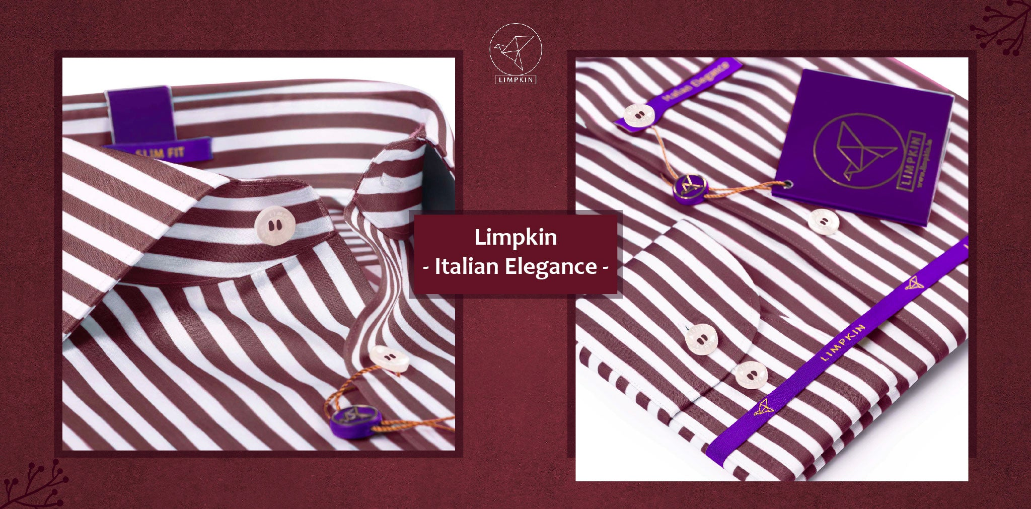 Verona- Mulberry Burgundy & White Stripe- 2 Ply Pure Egyptian Giza Cotton- Delivery from 20th Oct - Banner