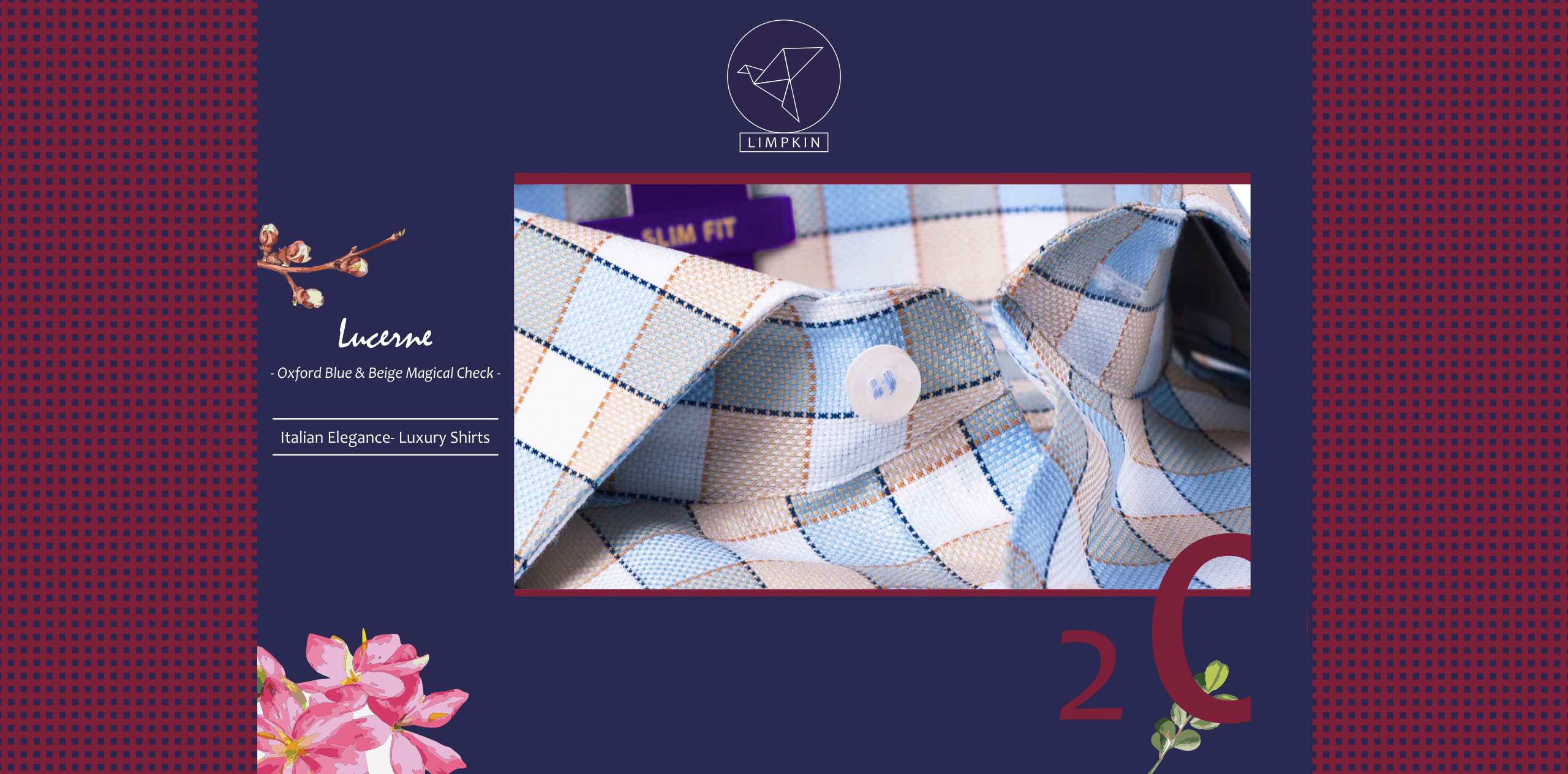 Lucerne- Oxford Blue & Beige Magical Check- 2 Ply Pure Egyptian Giza Cotton- Delivery from 14th Oct - Banner