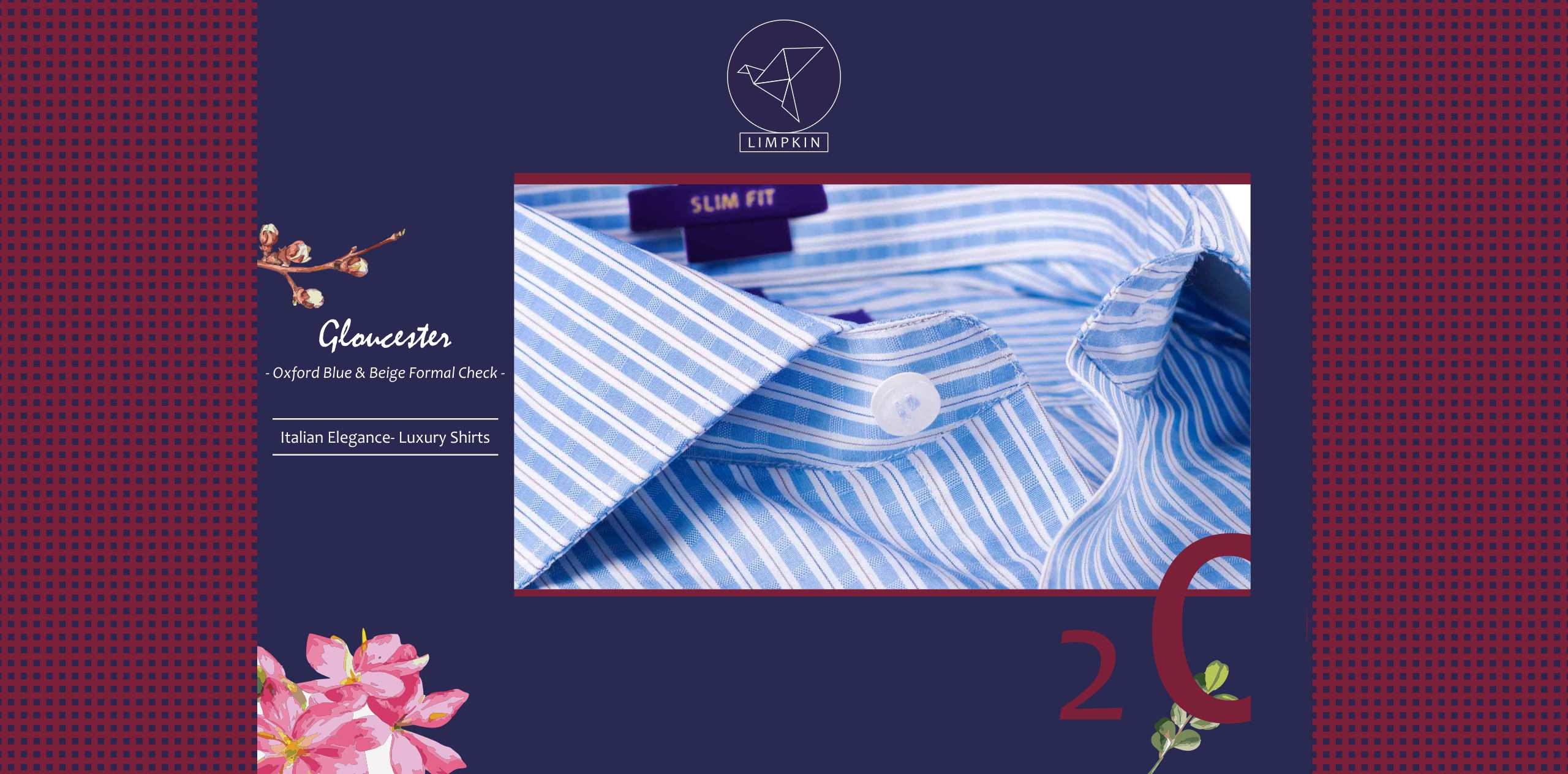 Gloucester- Oxford Blue & Beige Formal Check- 2/120 Egyptian Giza Cotton-  Delivery from 30th May - Banner