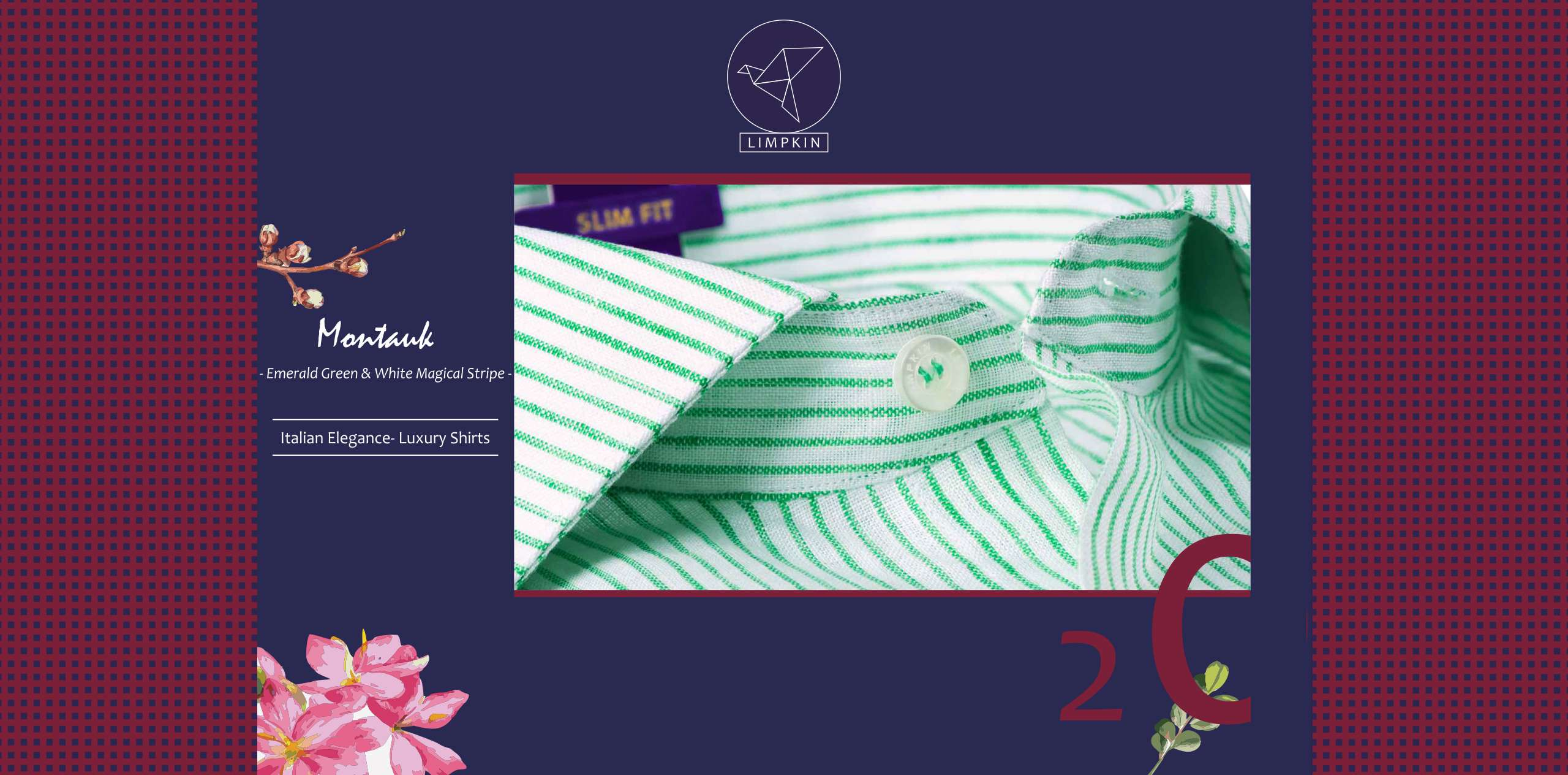 Montauk- Emerald Green & White Magical Stripe- 66's Lea Pure Linen- Delivery from 5th Nov - Banner