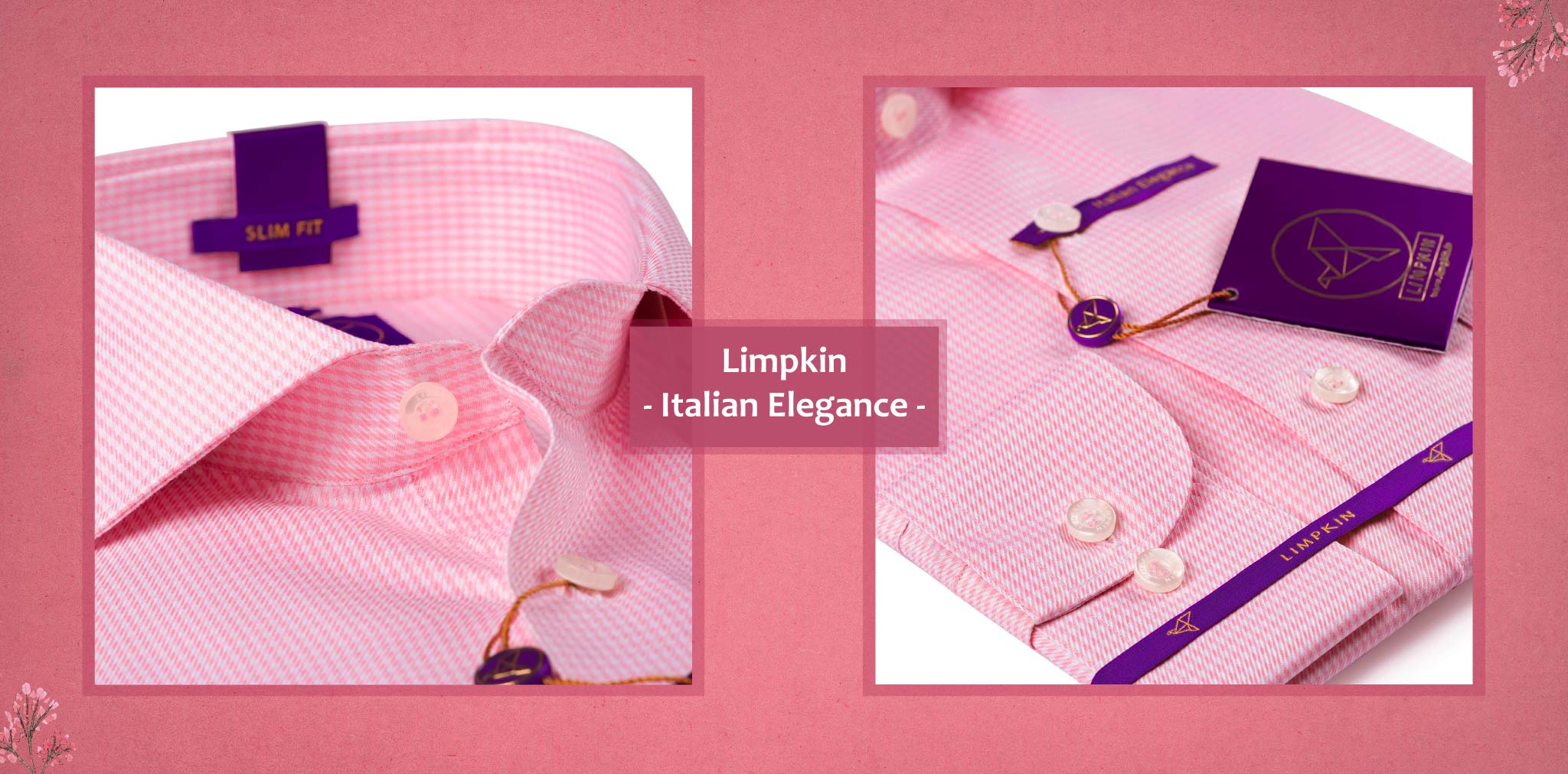 Westerville- Flamingo Pink & White  Micro Check- 2 Ply Pure Egyptian Giza Cotton- Delivery from 17th May - Banner