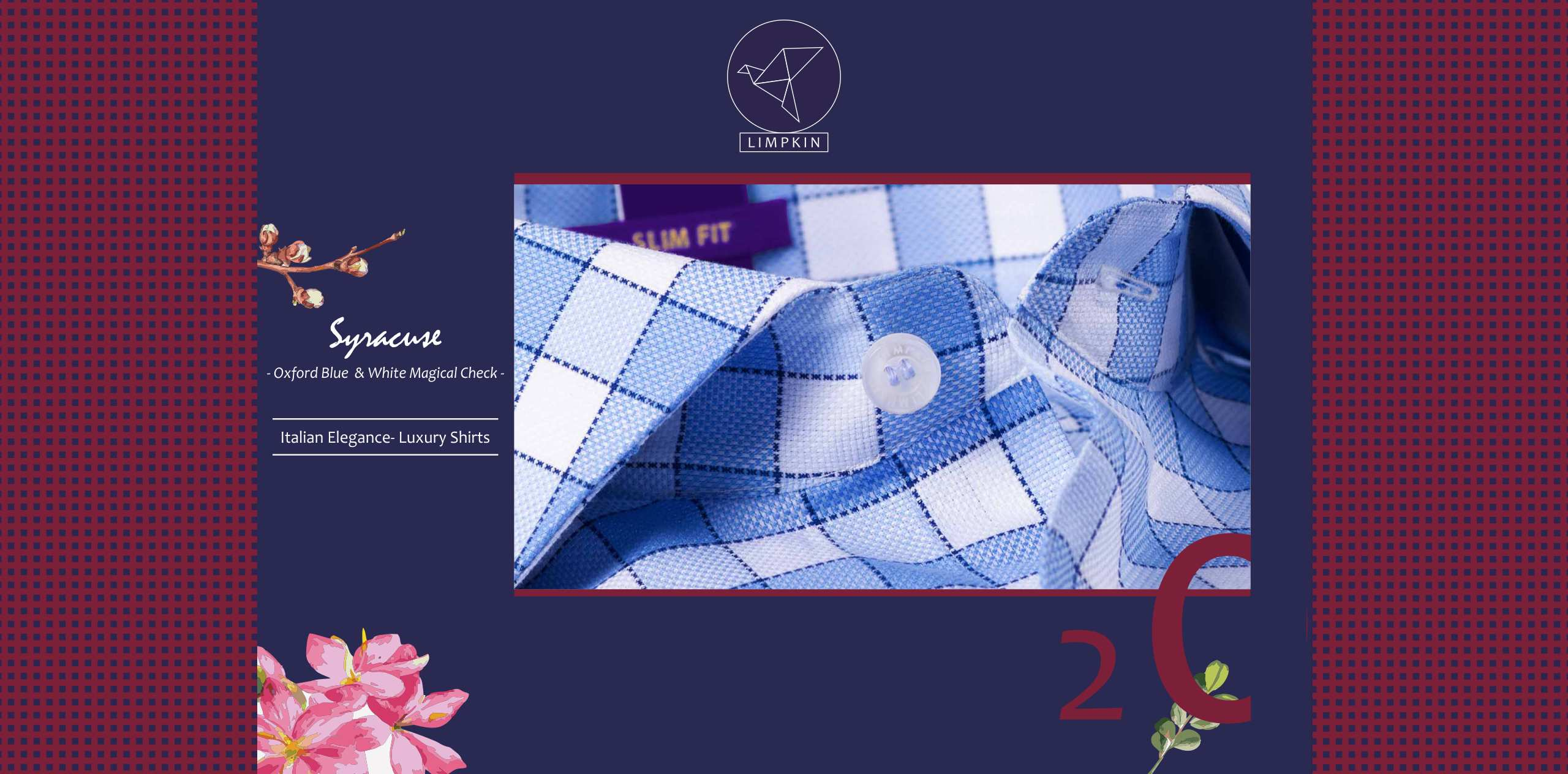 Syracuse- Oxford Blue & White Magical Check- 2 Ply Pure Egyptian Giza Cotton- Delivery from 14th Oct - Banner