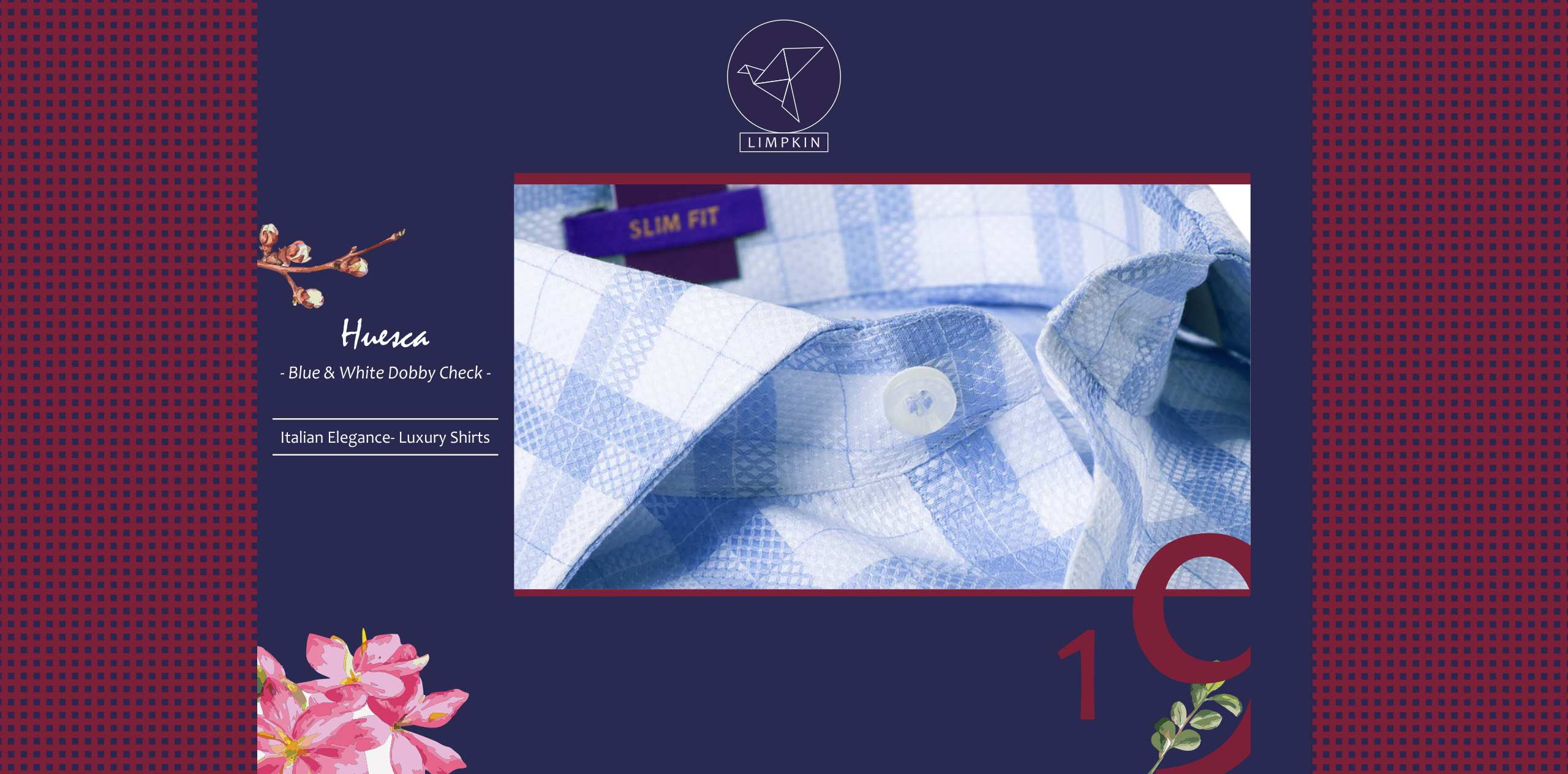 Huesca- Blue & White Dobby Check- 2/120 Egyptian Giza Cotton- Delivery from 14th Feb - Banner