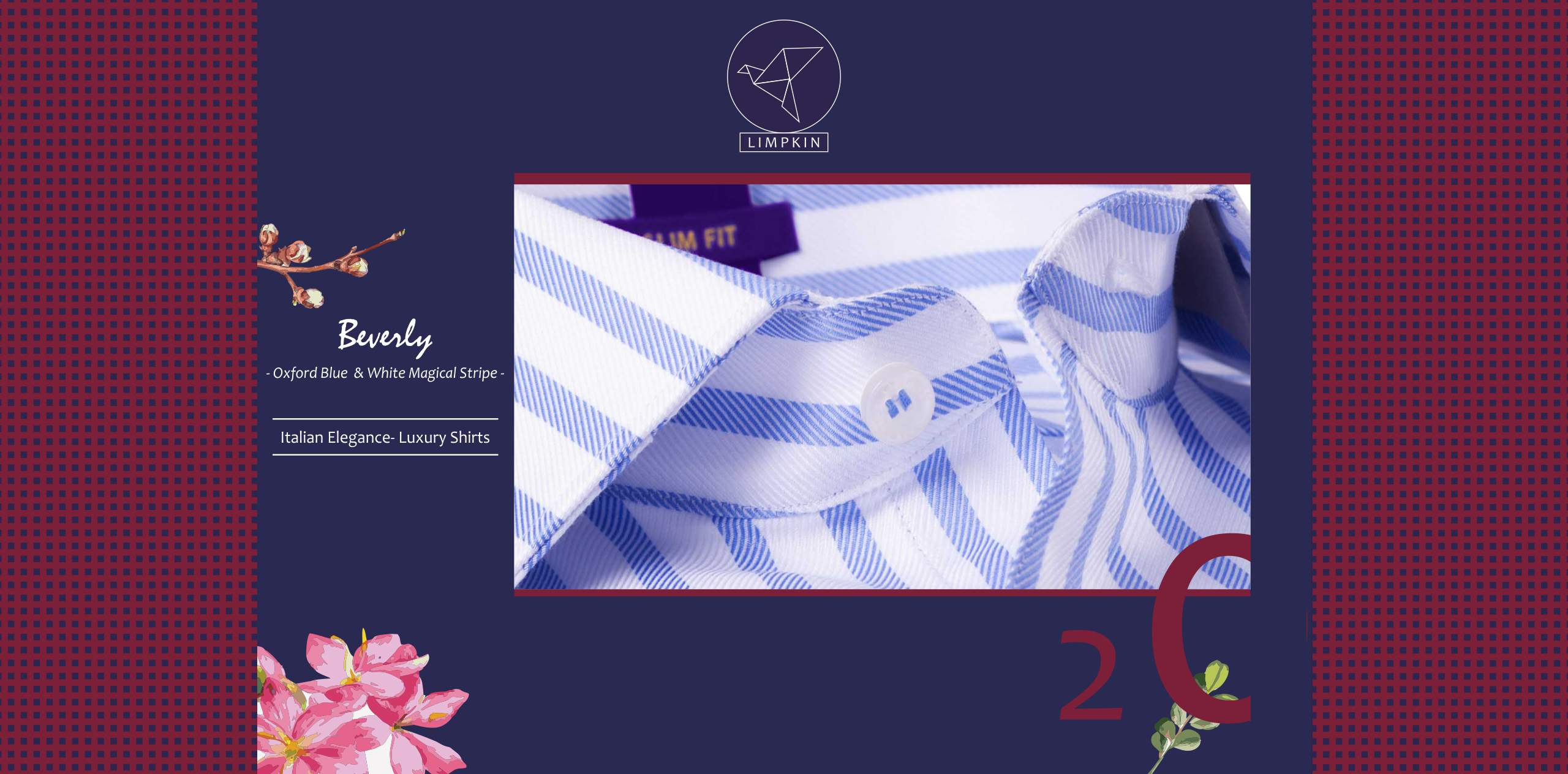Beverly- Oxford Blue & White Magical Stripe- 2/120 Egyptian Giza Cotton- Delivery from 30th Sep - Banner
