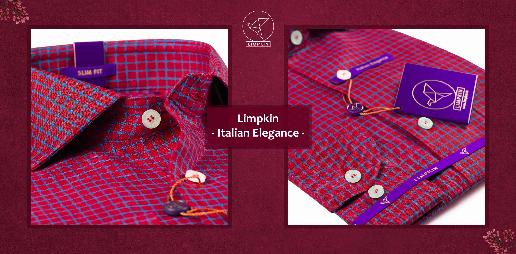 Hamburg- Hibiscus Red & Cerulean Blue Check- 66's Lea Pure Luxury Linen- Delivery from 26th Sept - Banner