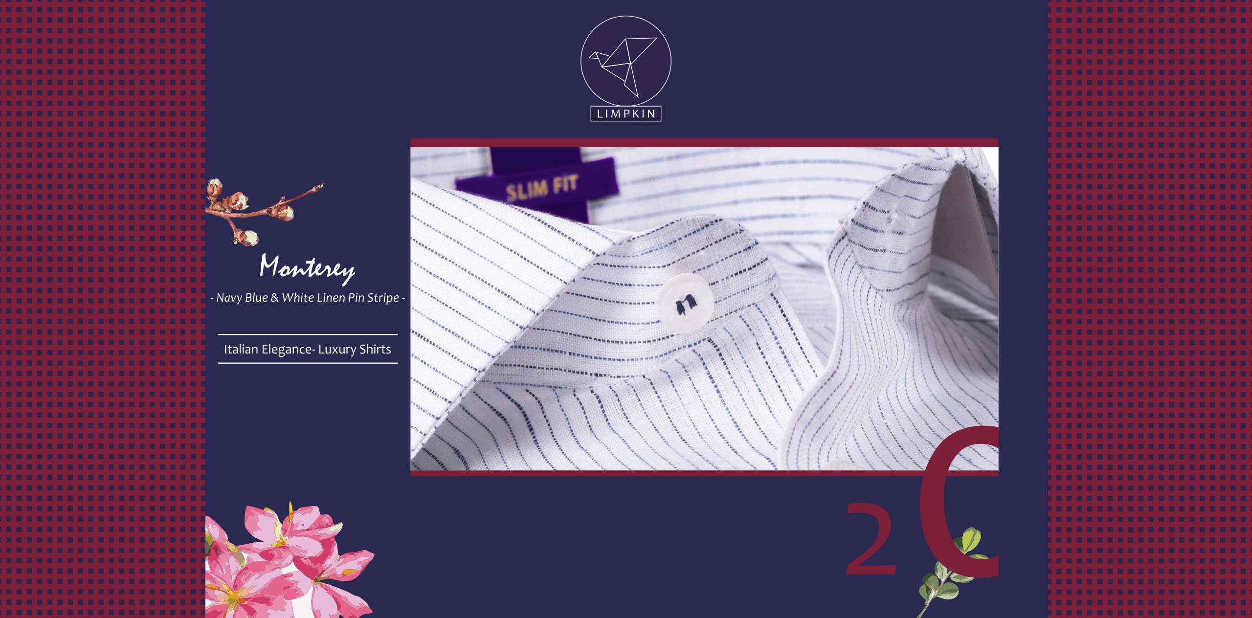Monterey- Navy Blue & White Pin Stripe- 66's Lea Pure Linen- Delivery from 6th April - Banner