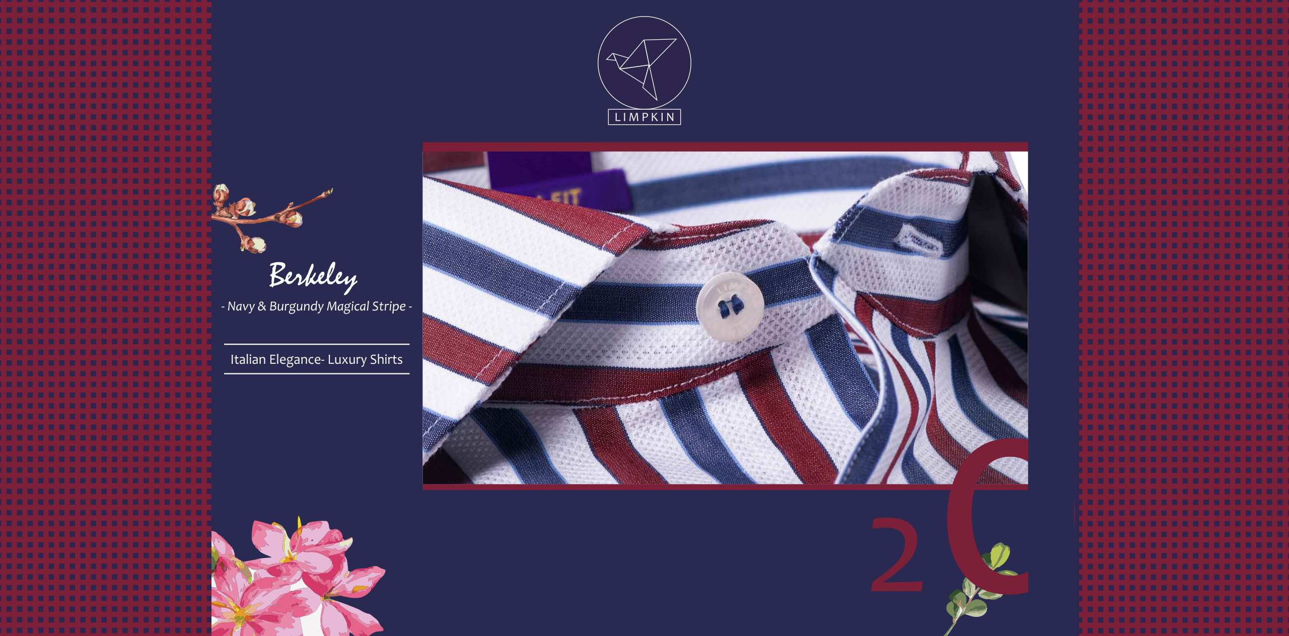 Berkeley- Navy & Burgundy Magical Stripe- 2/140 Egyptian Giza Cotton- Delivery from 30 Sep - Banner