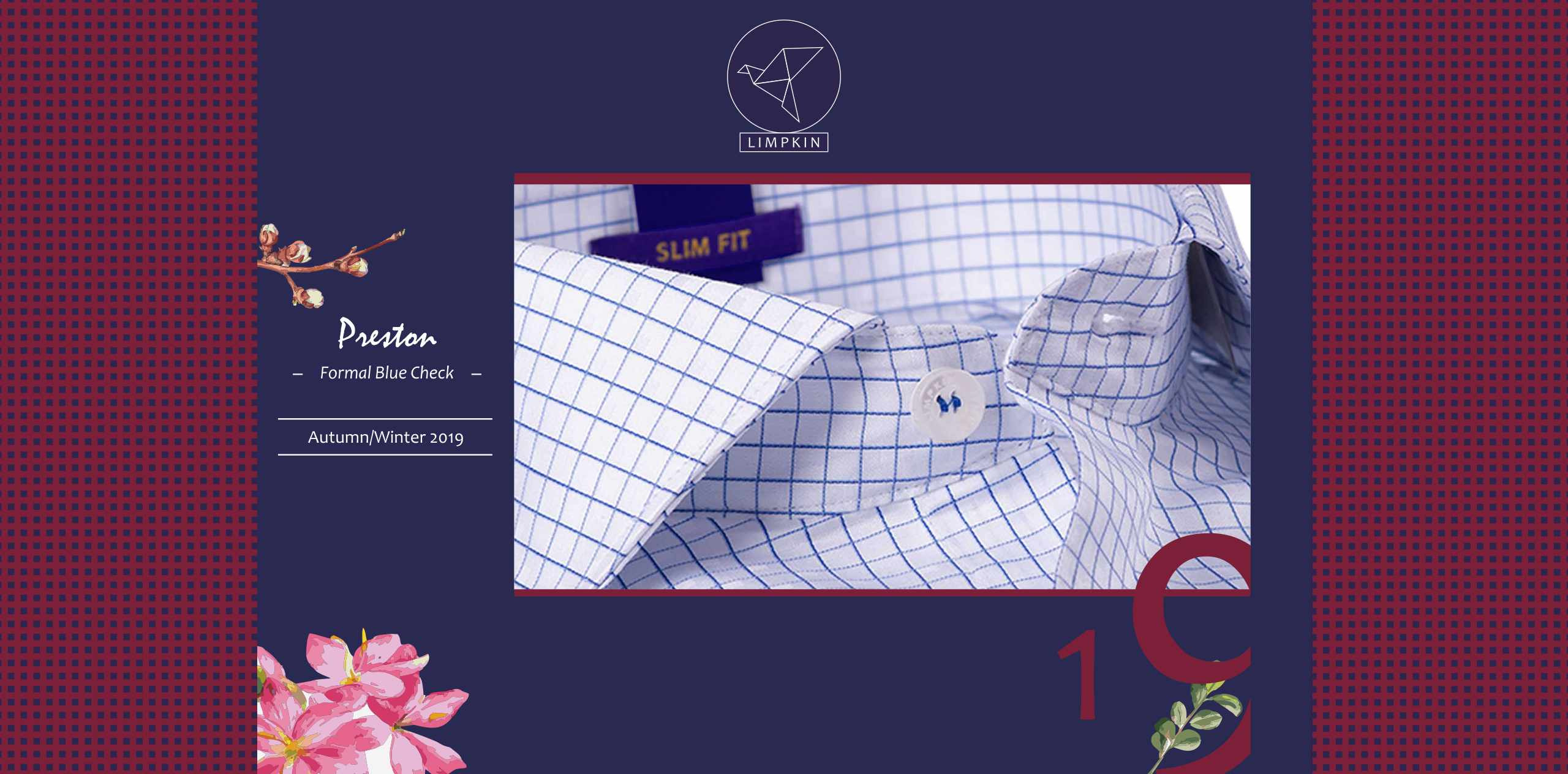 PRESTON- FORMAL BLUE & WHITE CHECK- 2/140 EGYPTIAN GIZA COTTON- Delivery from 8th Jan - Banner