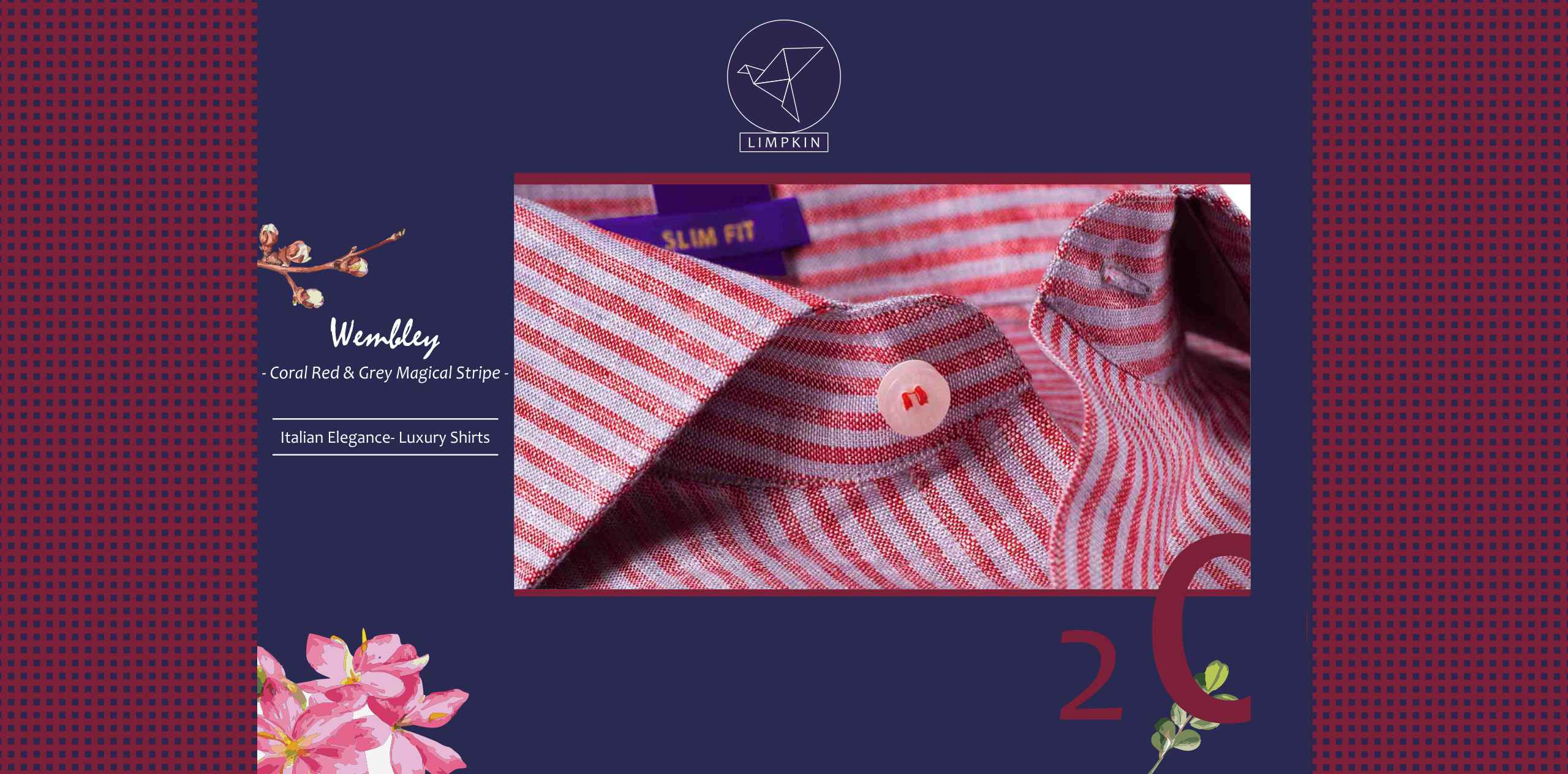Wembley- Coral Red & Ash Grey Stripe- 66's Lea Pure Italian Linen- Delivery from 28th March - Banner