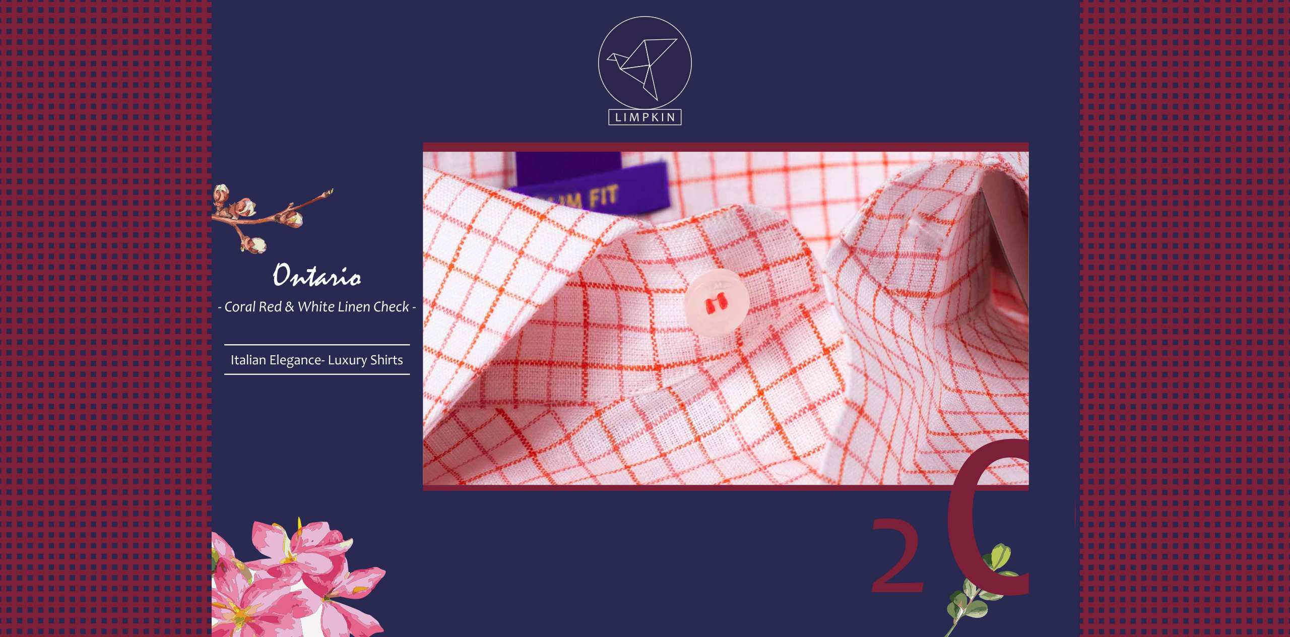 Ontario - Coral Red & White Magical Check- 66's Lea Pure Italian Linen- Delivery from 28th March - Banner