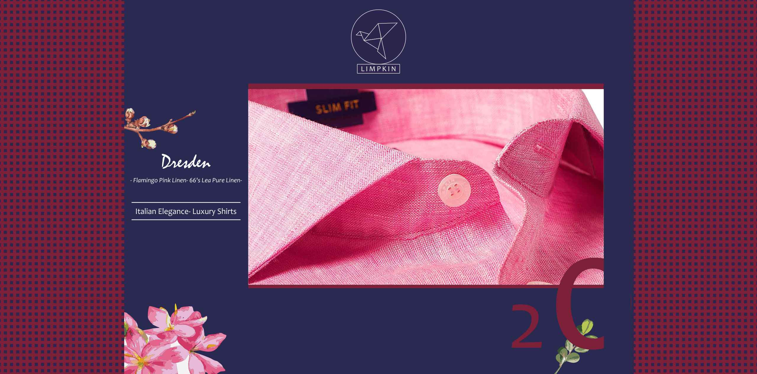 Dresden- Flamingo Pink Solid Linen- 66's Lea Pure Italian Linen- Delivery from 11th Nov - Banner