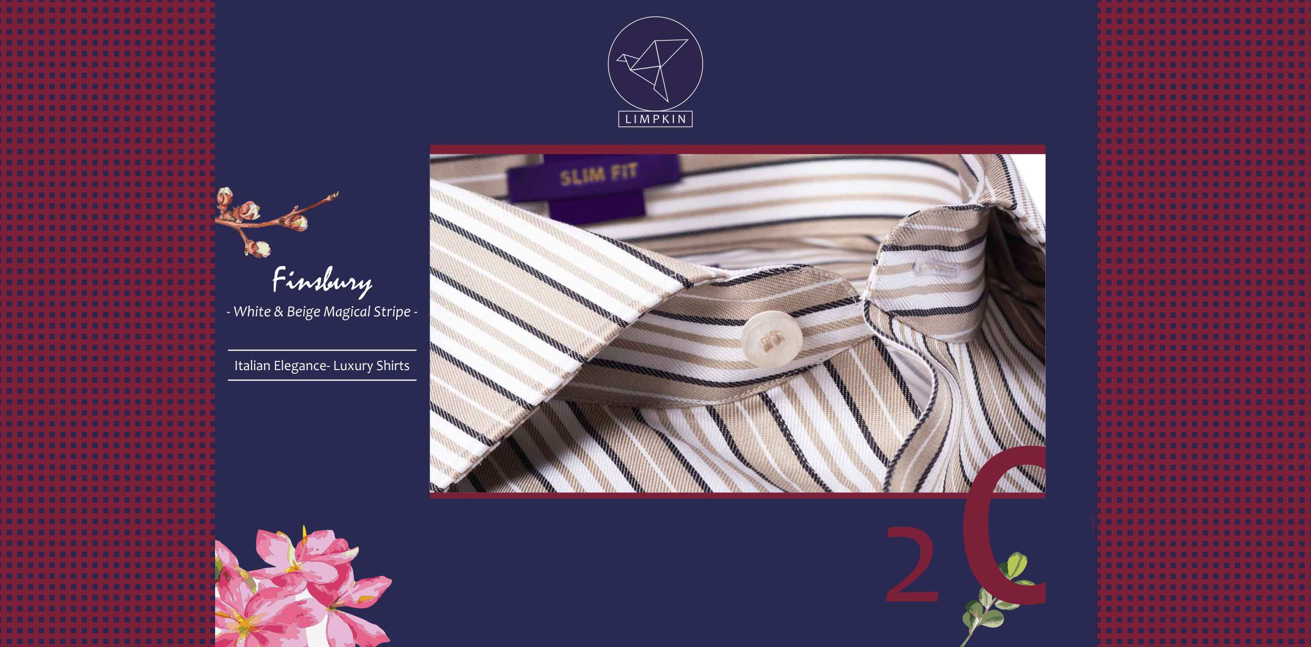 Finsbury- White & Beige Magical Stripe- 2/140 Egyptian Giza Cotton- Delivery from 28th March - Banner