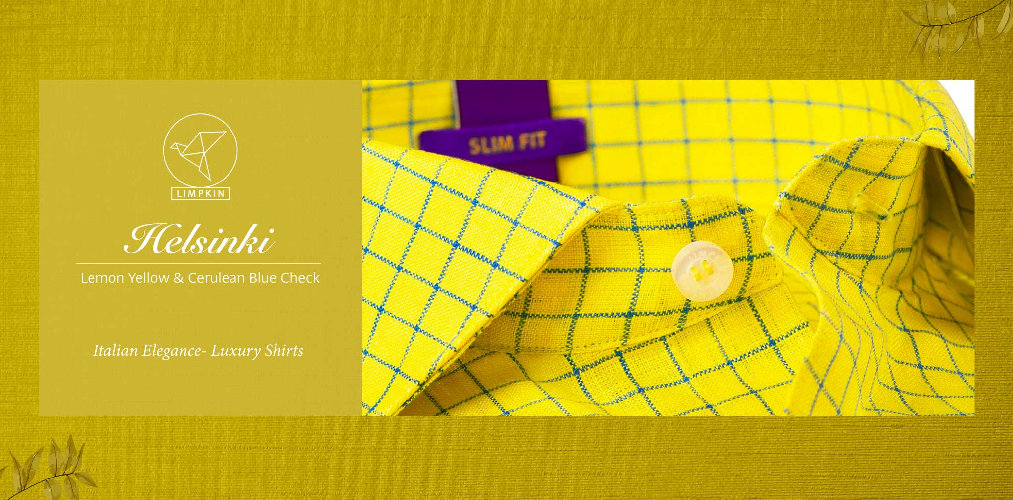 Helsinki- Lemon Yellow & Cerulean Blue Check- 66's Lea Pure Luxury Linen- Delivery from 4th August - Banner