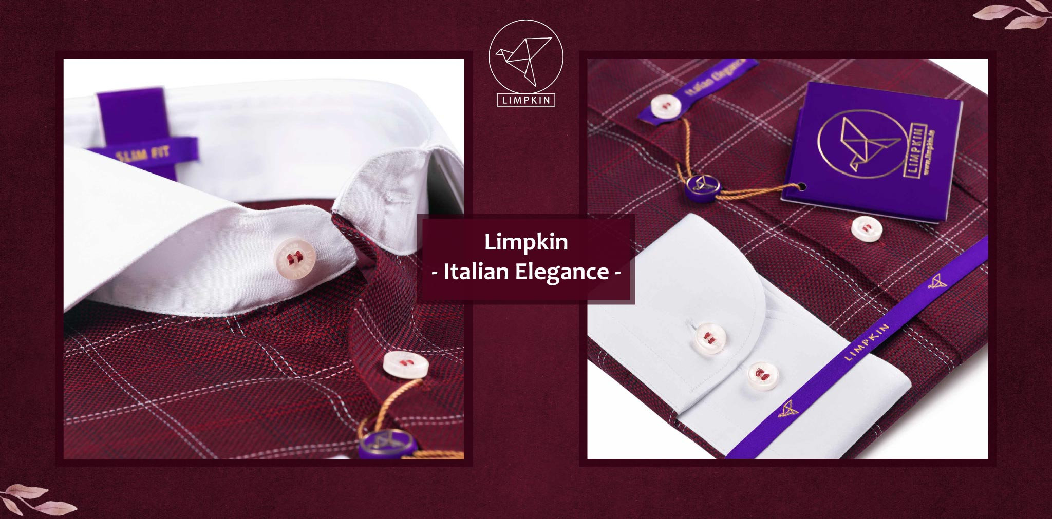 Naples- Burgundy & White Check with White Collar- 2 Ply Pure Egyptian Giza Cotton- Delivery from 20th Oct - Banner