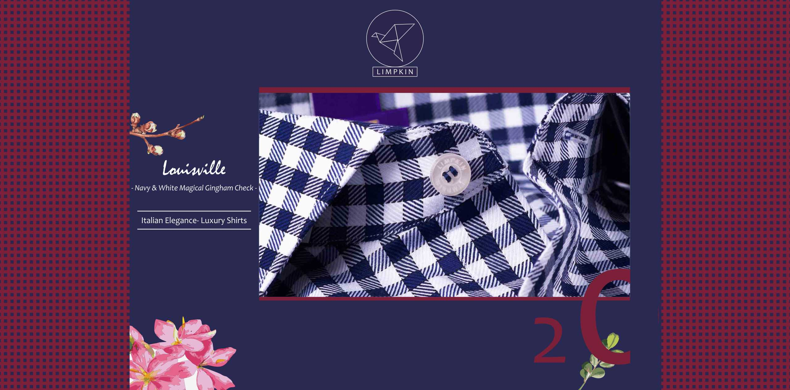 Columbus- Navy & White Magical Gingham Check- 2/140 Egyptian Giza Cotton- Delivery from 30th Sep - Banner