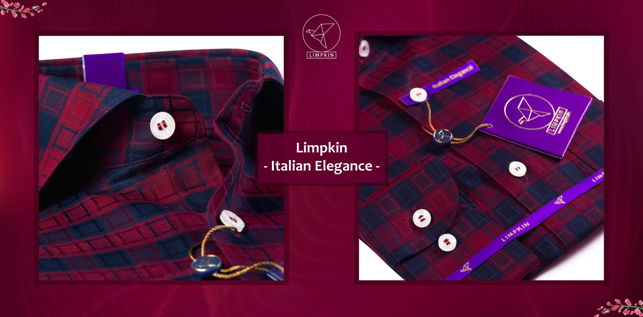 Louisville- Burgundy & Black Check- 2 Ply Pure Egyptian Giza Cotton- Delivery from 26th Sept - Banner