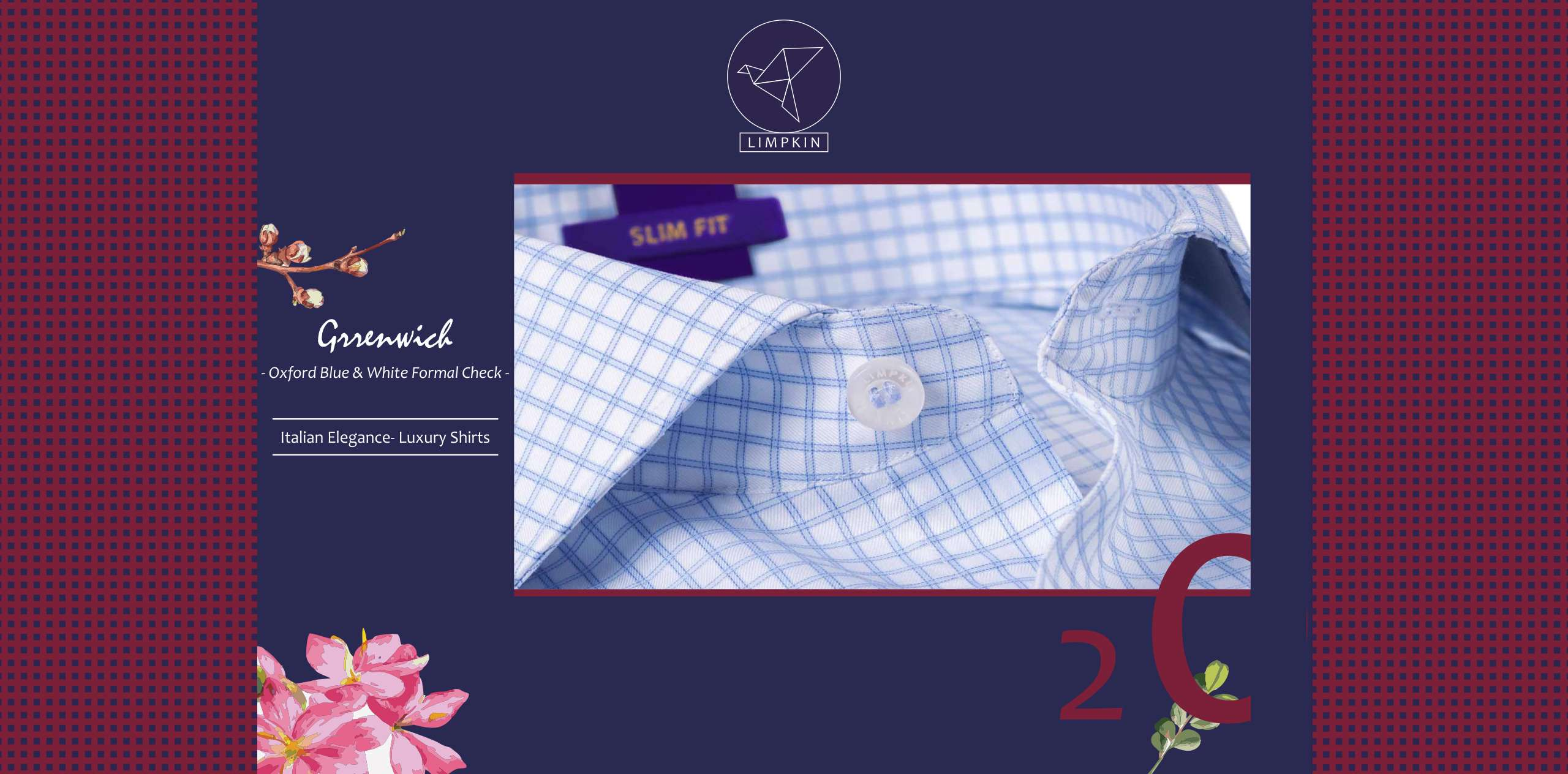 Greenwich- Oxford Blue & White Formal Check- 2/120 Egyptian Giza Cotton- Delivery from 28th March - Banner