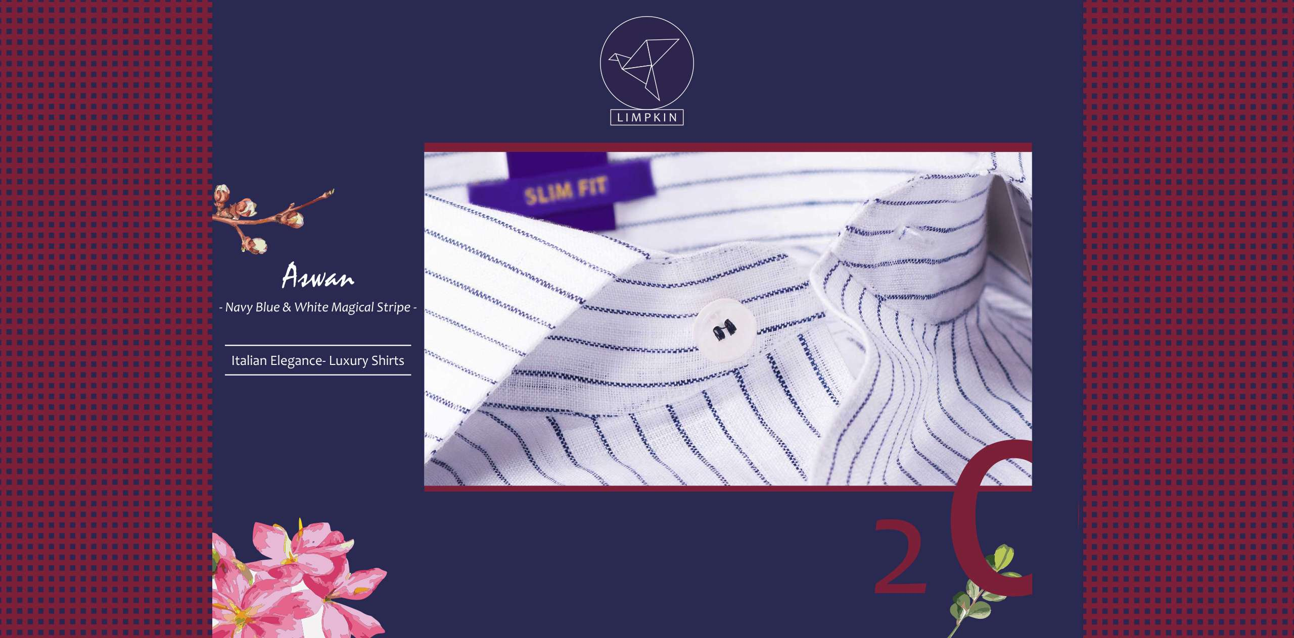 Aswan- Navy Blue & White Magical Stripe- 66's Lea Pure Italian Linen- Delivery from 28th March - Banner